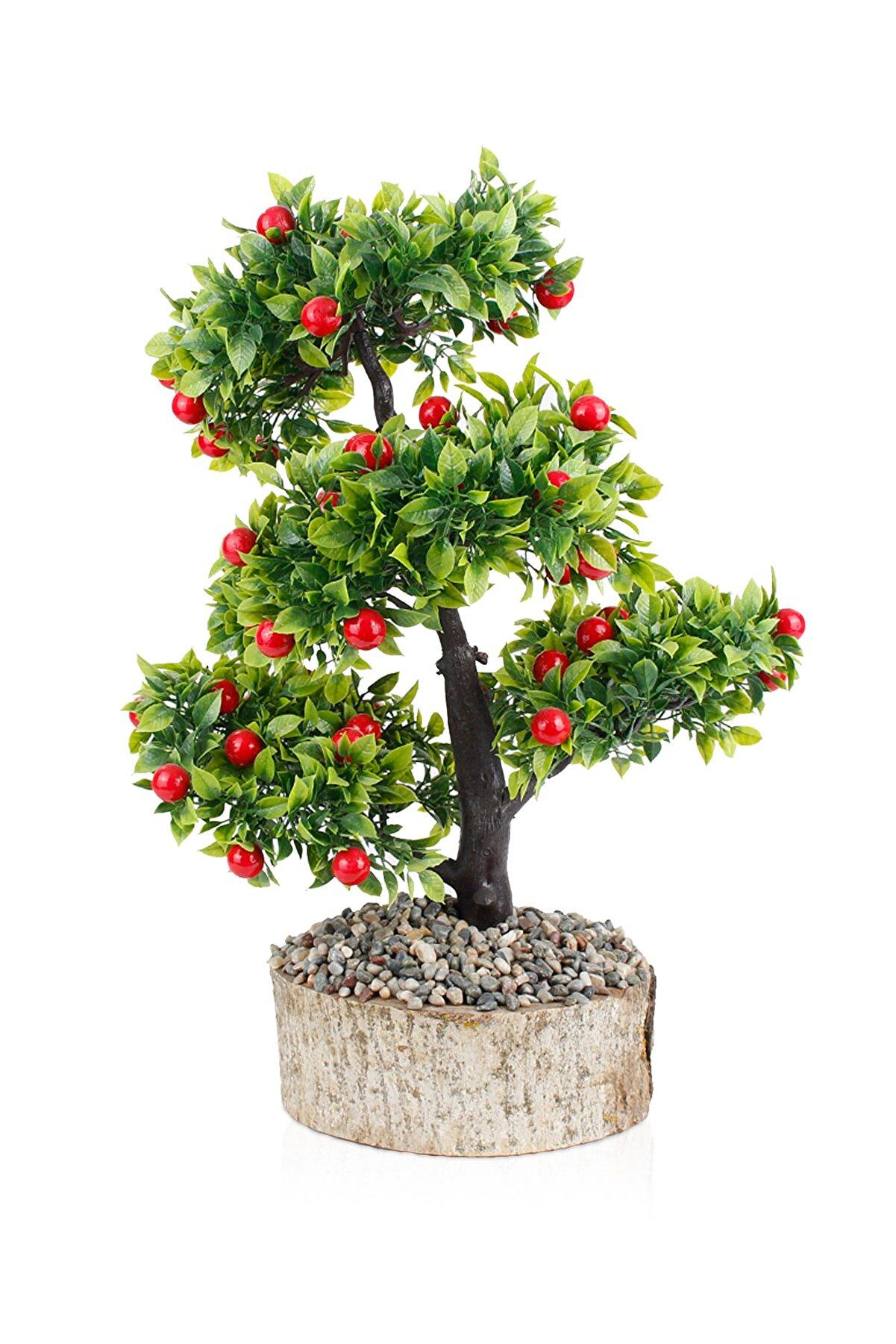 çiçekmisin Kütük Saksıda Yapay Kiraz Ağacı