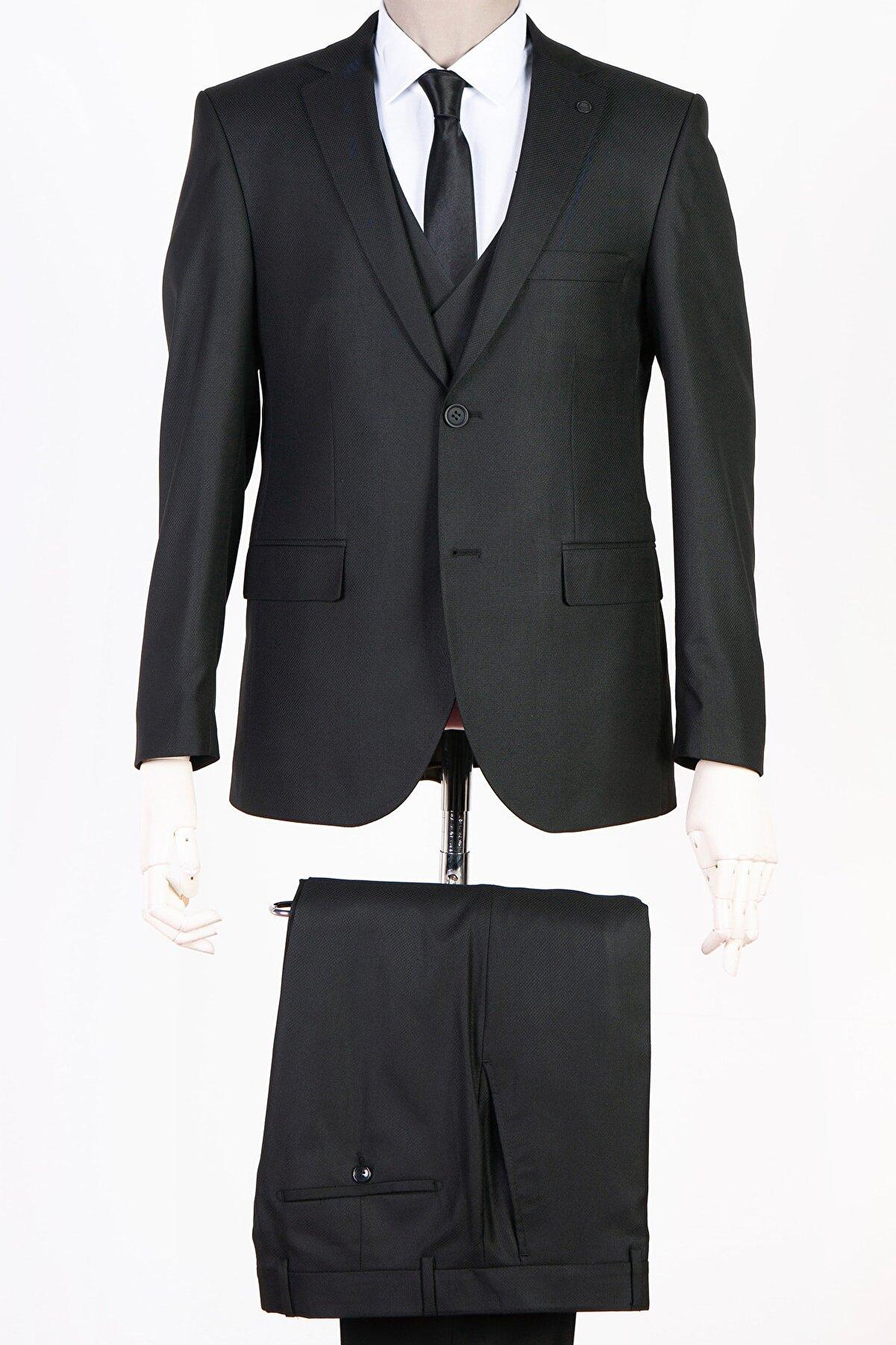 RAMMEN Siyah Slim Fit Dar Kesim Takım Elbise