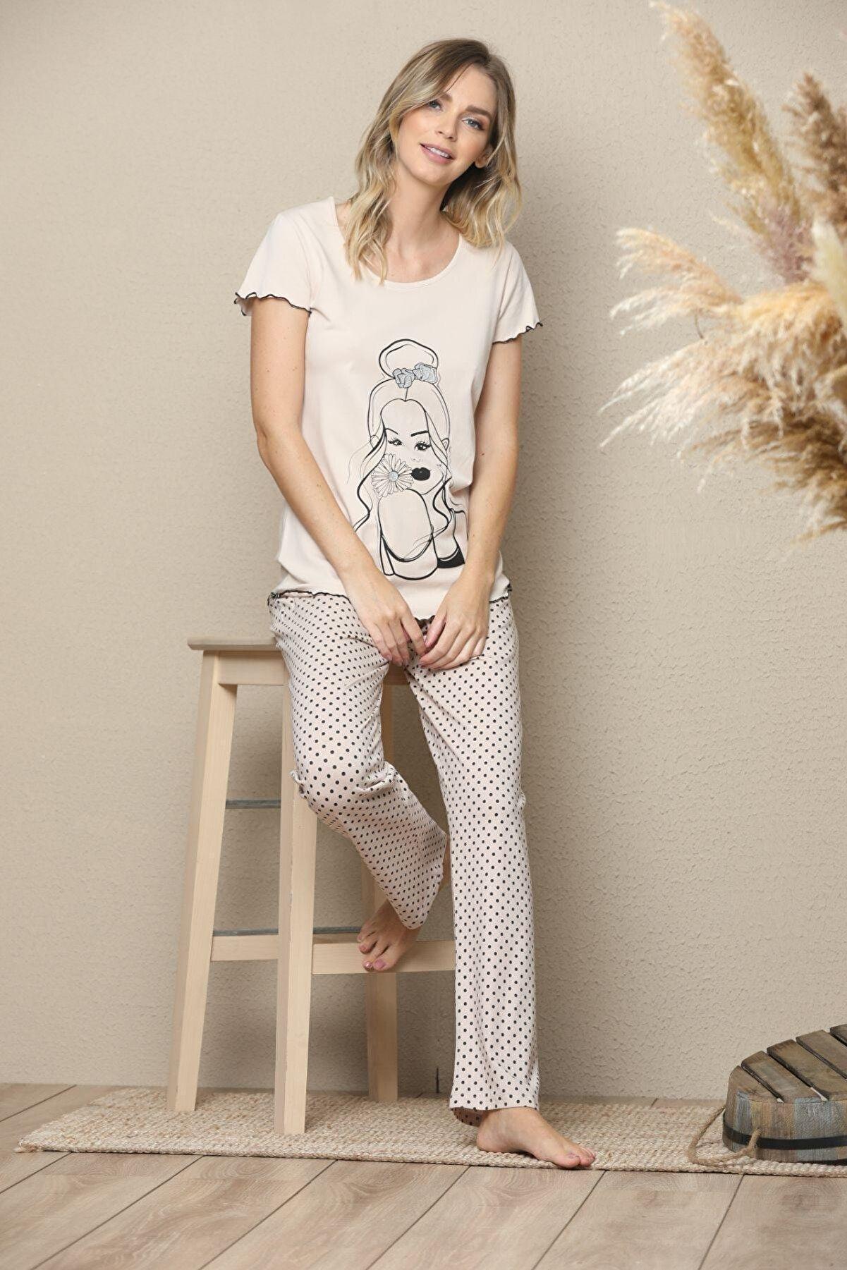 Siyah İnci Kadın Kısa Kollu Pamuklu Likralı Pijama Takım
