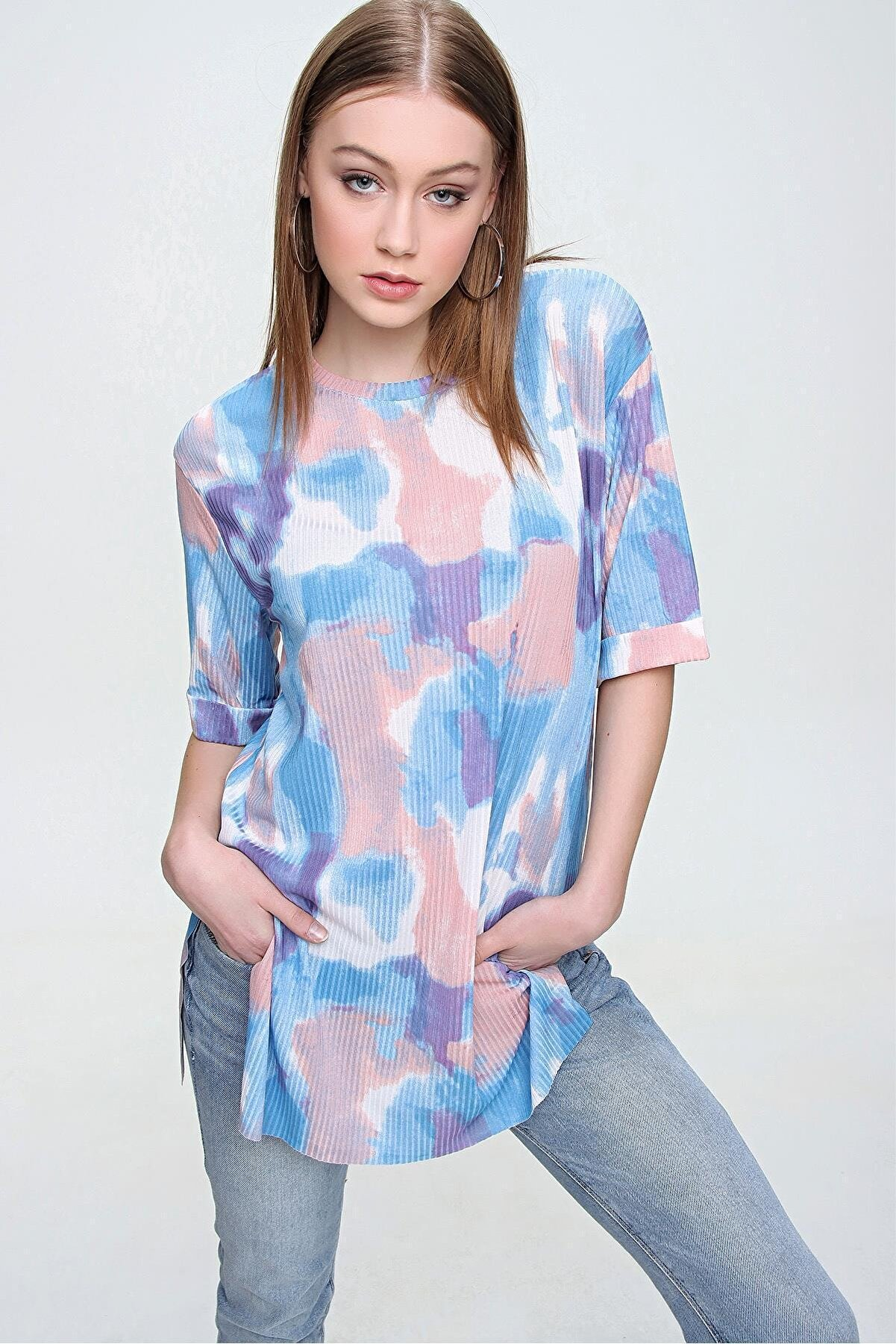Şimal Kadın Baskılı Duble Kol Oversize Tişört