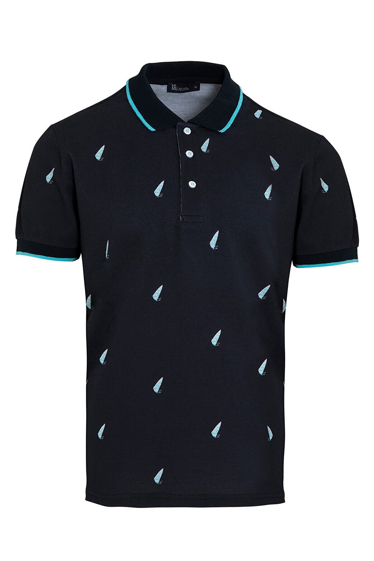 Hatemoğlu Erkek  Lacivert Baskılı Polo Yaka  T-shirt