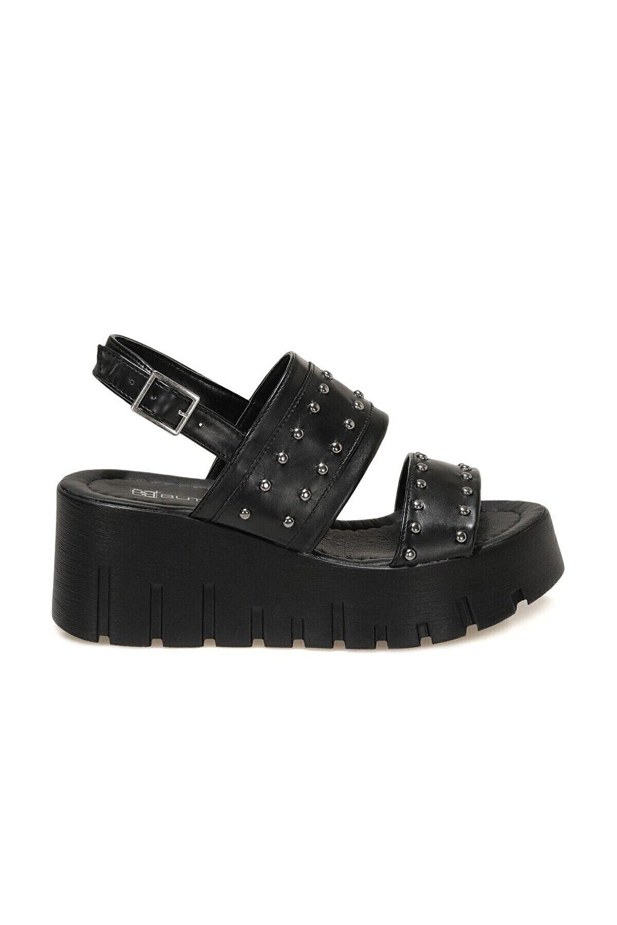 Butigo 21S-3851FX Siyah Kadın Dolgu Topuklu Sandalet 101014485