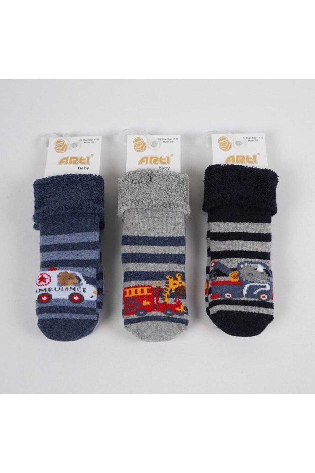 Artı Erkek Bebek Ambulence Havlu Soket Çorap 3'lü