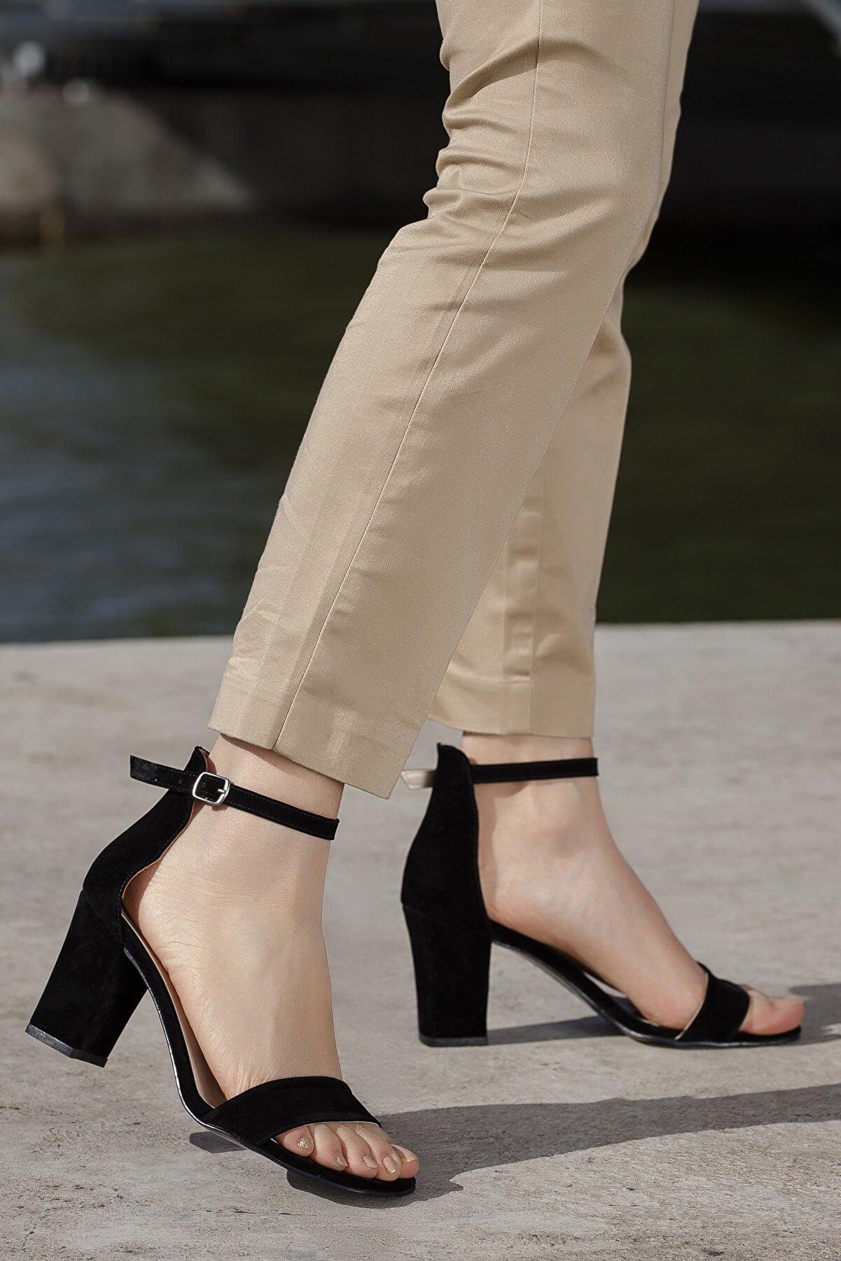 Daxtors Siyah-Süet Kadın Ayakkabı DXSAYSYKSEK007