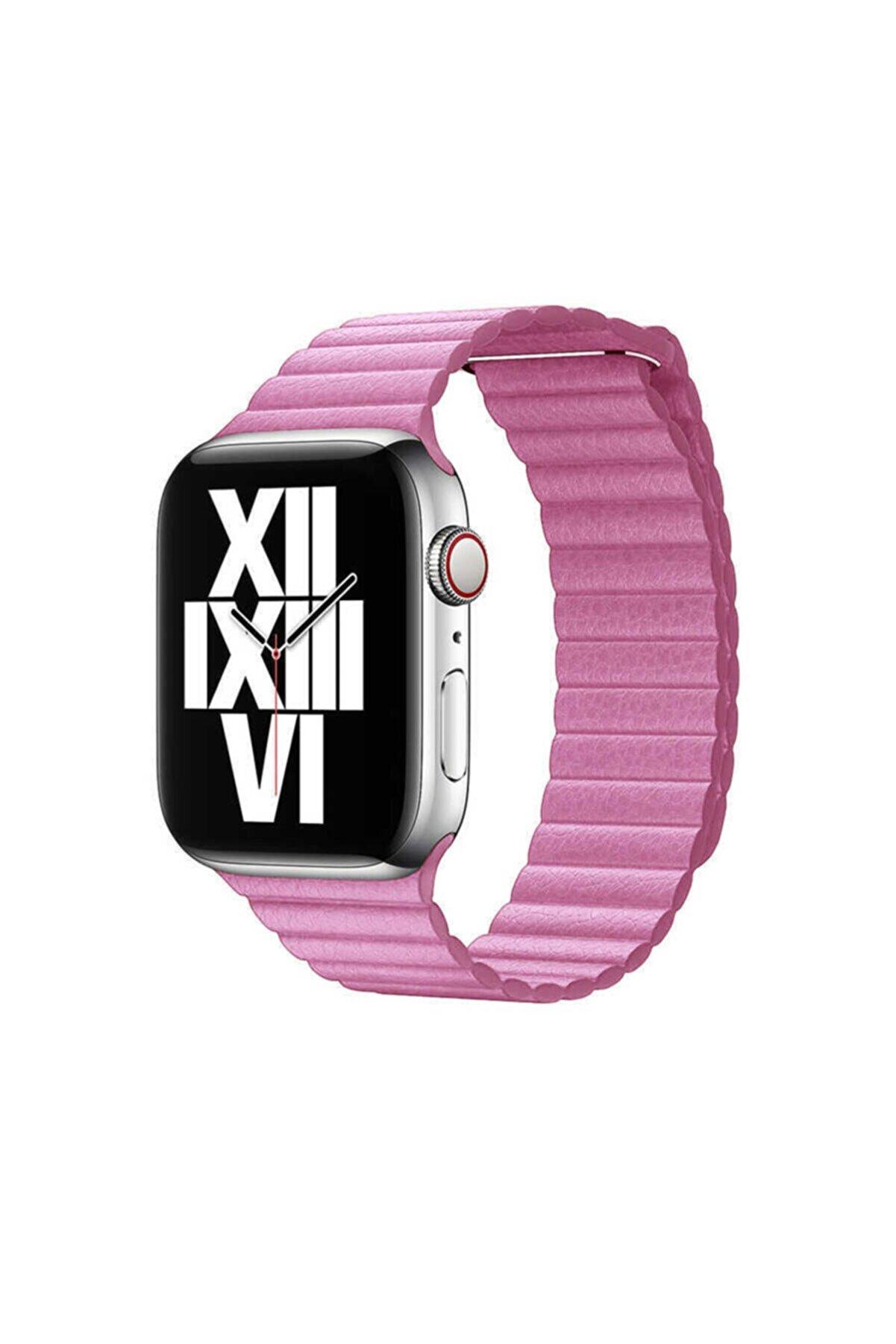 Apple Watch Se Kordon Deri Lop Mıknatıslı Suya Ve Darbelere Dayanıklı 42mm Krd-09