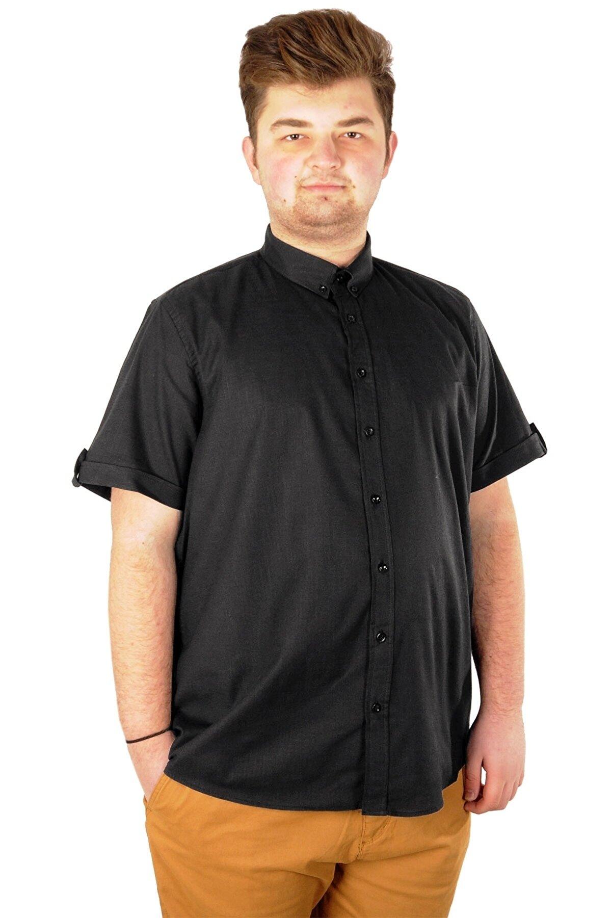 Modexl Büyük Beden Erkek Keten Likralı Gömlek 20393 Siyah
