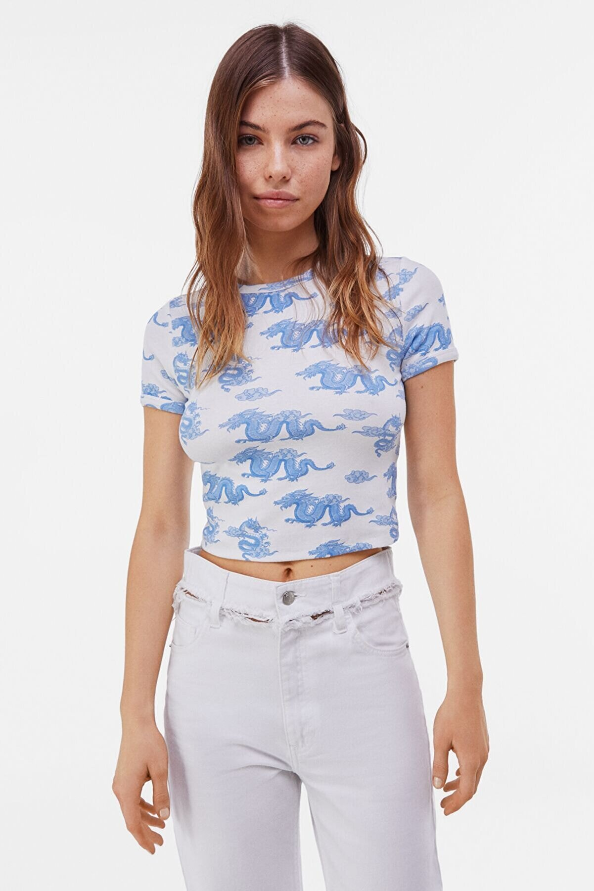 Bershka Kadın Açık Mavi Kısa Kollu Desenli T-Shirt 02198443