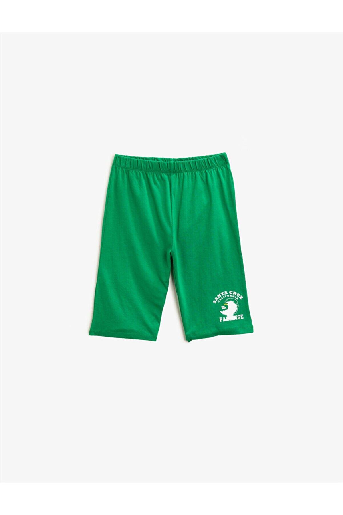 Koton Erkek Çocuk Yeşil Baskılı  Pamuklu Şort