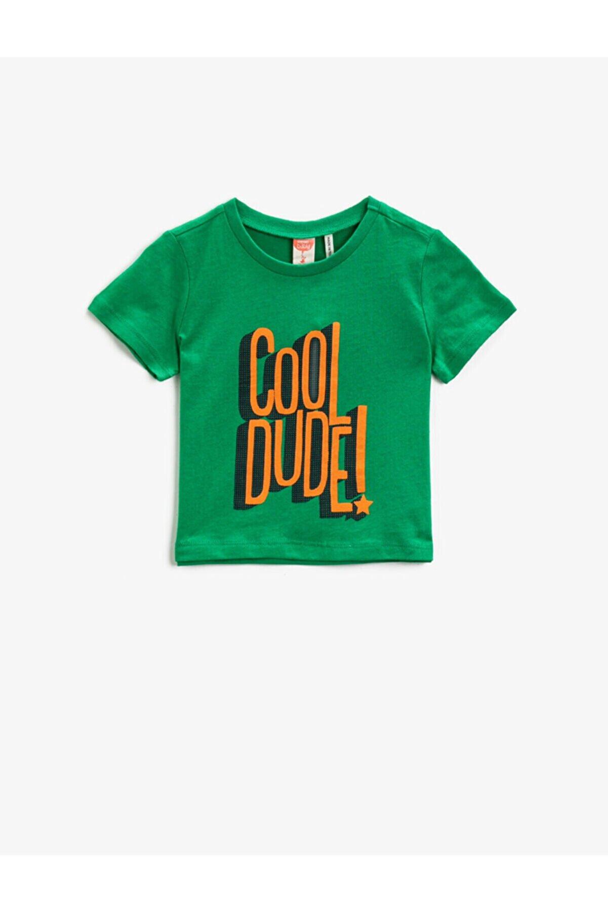 Koton Erkek Çocuk Yeşil Sloganlı Kısa Kollu Pamuklu T-Shirt