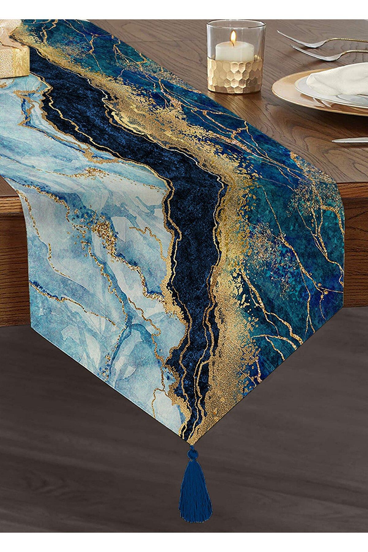 Realhomes Altın Varaklı Mavi Zeminli Modern Özel Tasarım Püsküllü Şönil Üçgen Runner