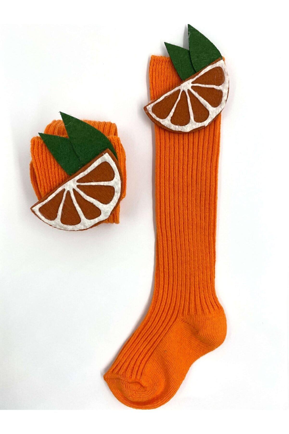 Burcu Atölye Kız Bebek Turuncu Portakal Figürlü Diz Altı Çorap