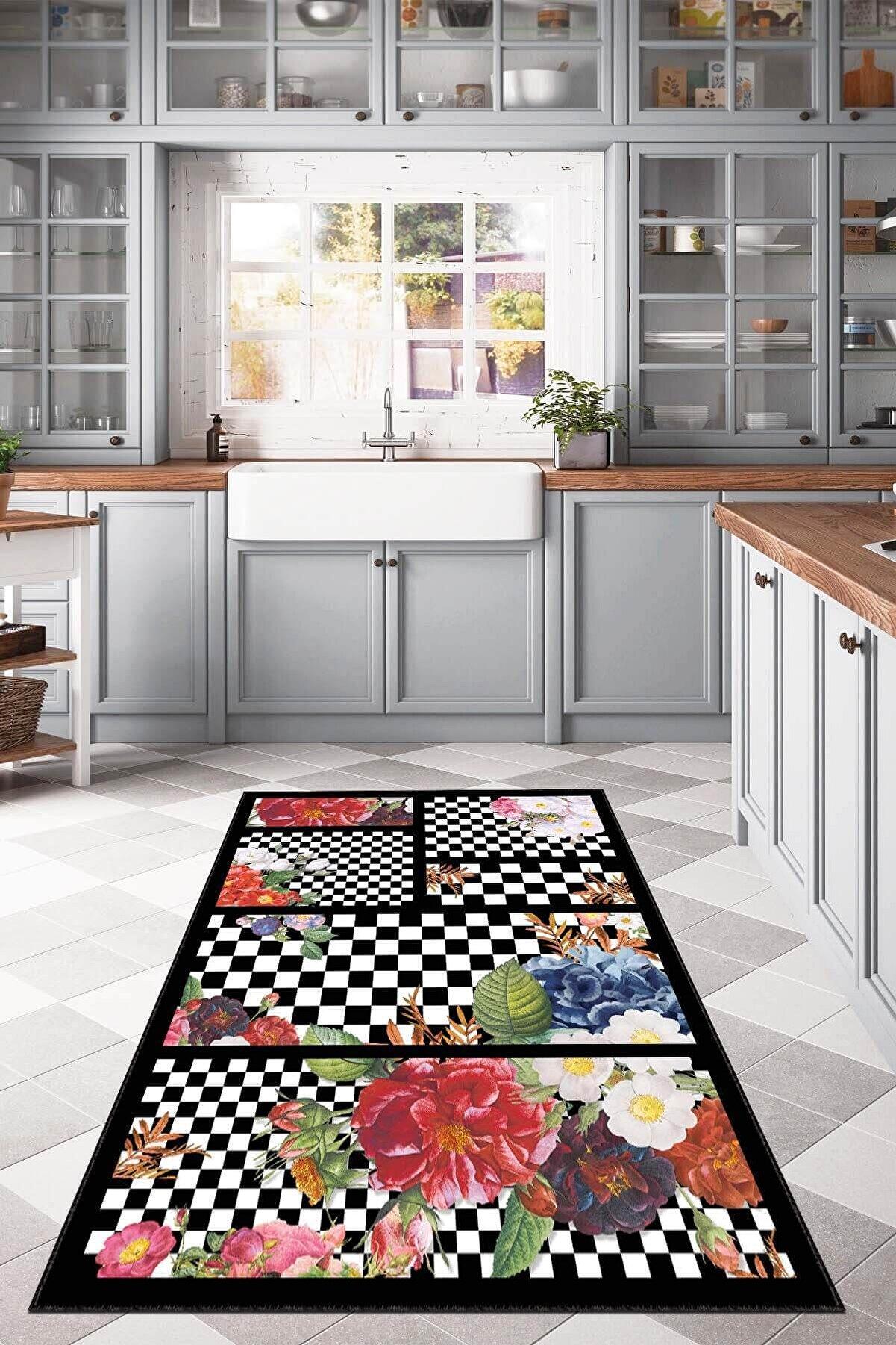 RugViva Makinede Yıkanabilir Siyah Mutfak Halısı Modern Pathcwork Mackenzie Ar374