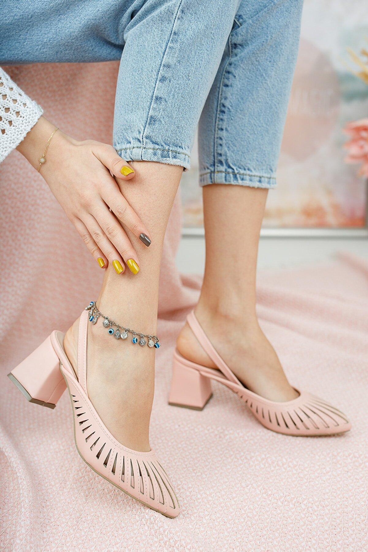 Moda Değirmeni Kadın Pudra Cilt Topuklu Ayakkabı Md1042-119-0005