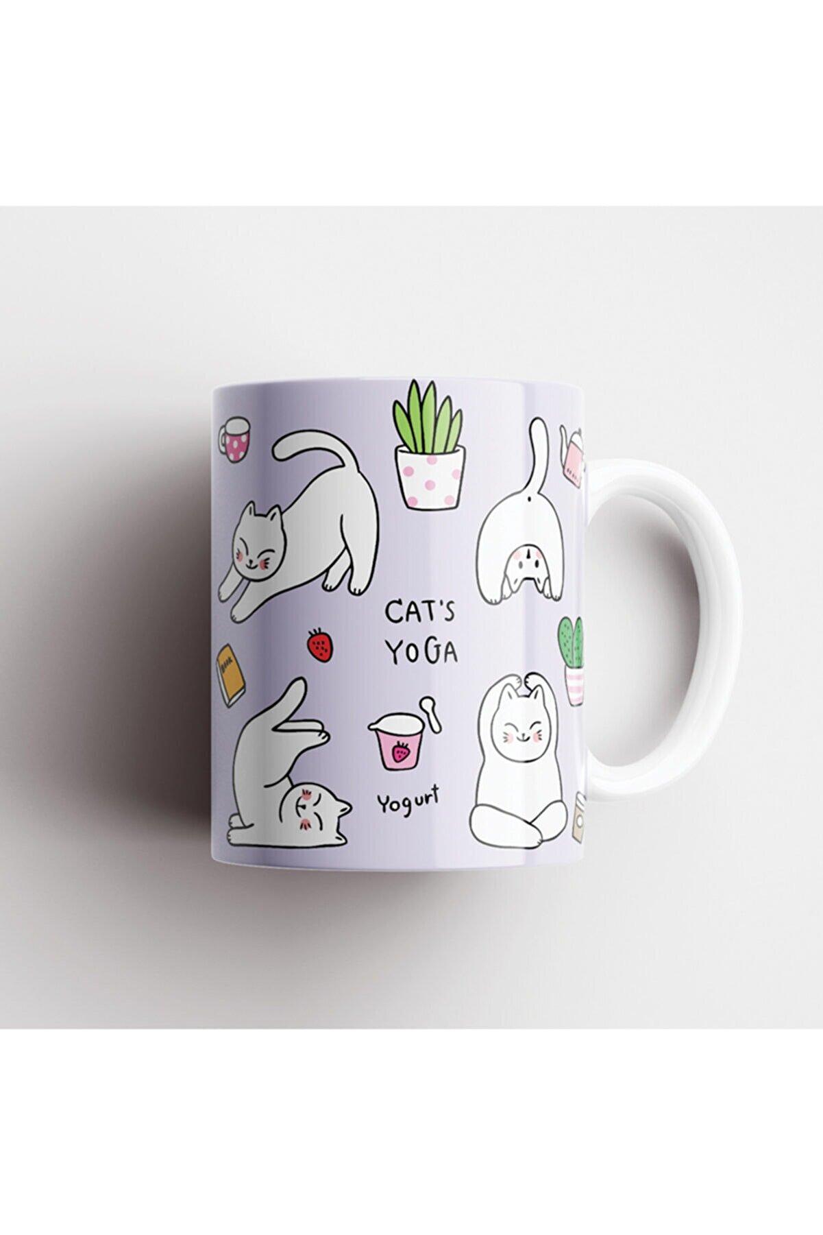 ONLY MUGS Yoga Cats Kedi Kupa