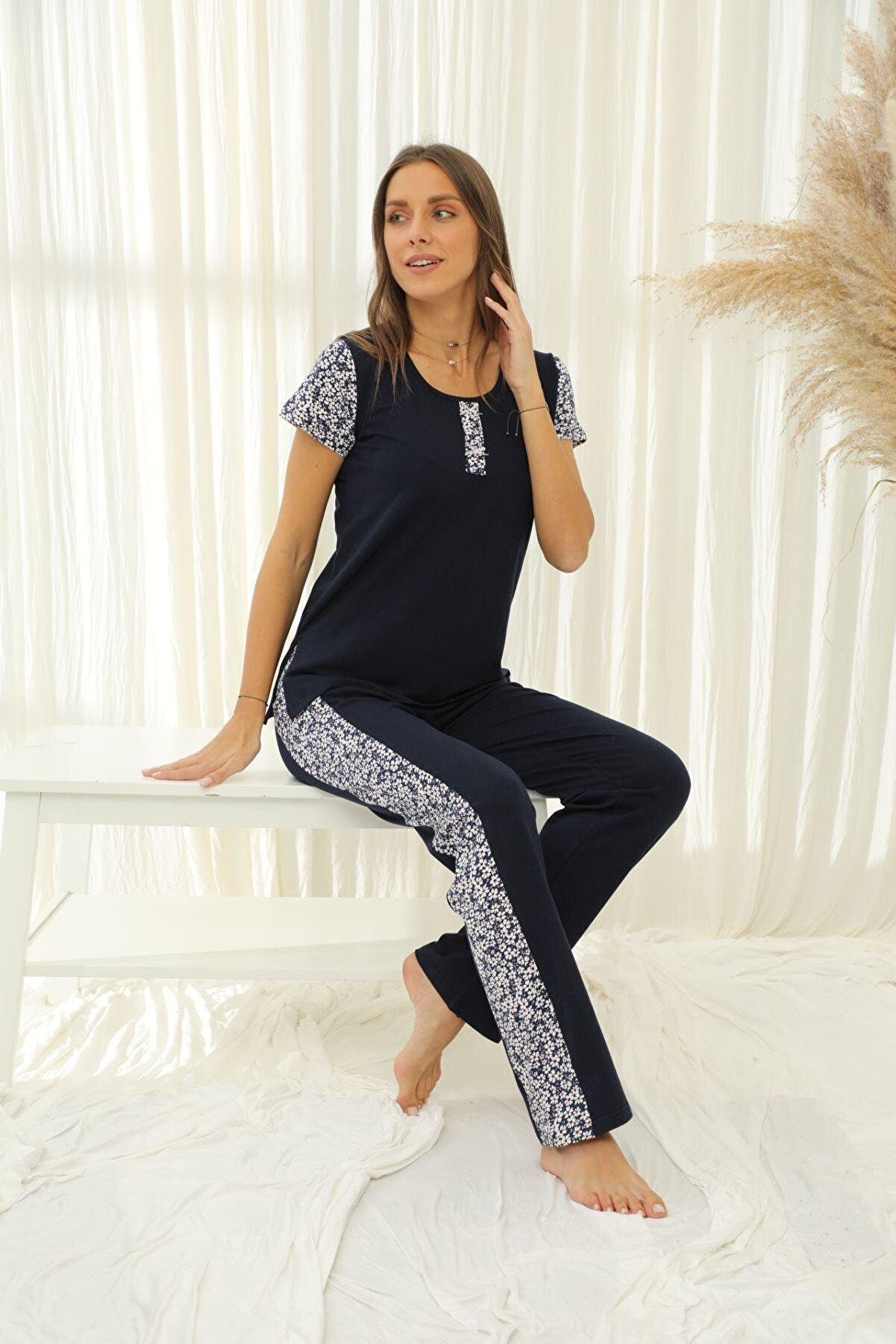 Siyah İnci Kadın Lacivert Kısa Kollu Pamuklu Likralı Pijama Takım