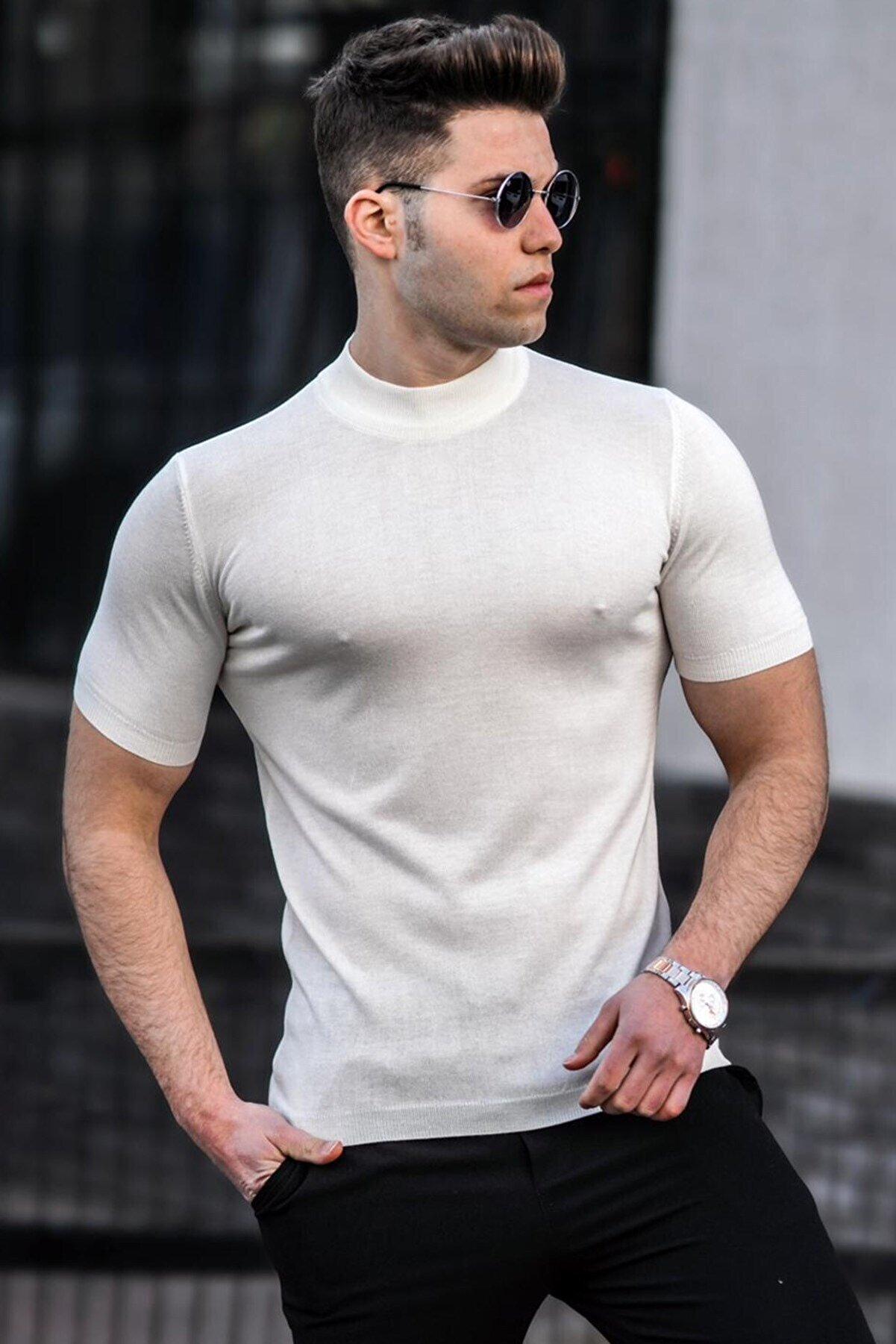 Madmext Erkek Beyaz  Yarım Balıkçı Triko Tişört 5069