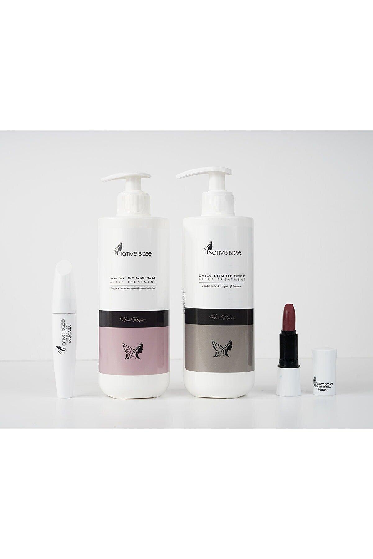 Native Base Keratin Bakım Şampuanı 500 ml+ Keratin Krem 500 ml+ Ruj + Mascara Kişisel Saç Bakım Seti