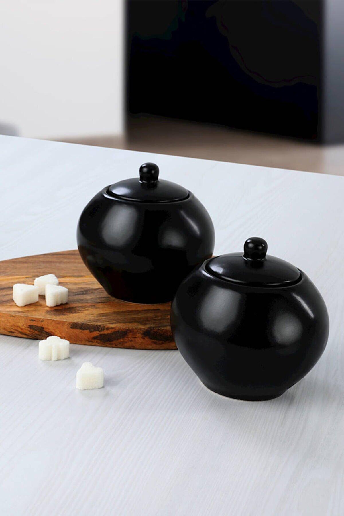 Keramika Mat Siyah Şekerlik 10 Cm 2 Adet