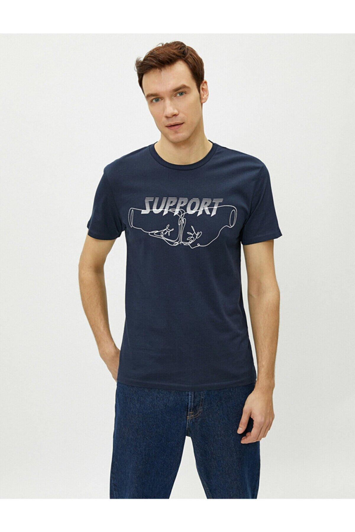 Koton Erkek Lacivert Yazılı T-Shirt