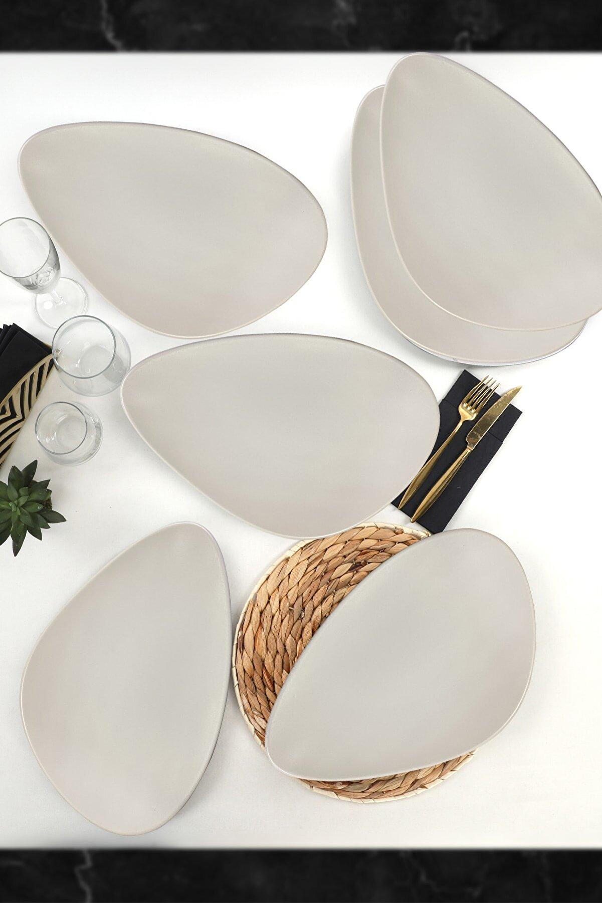 Keramika Mat Beyaz Oscar Servis Tabağı 35 cm 6 Adet