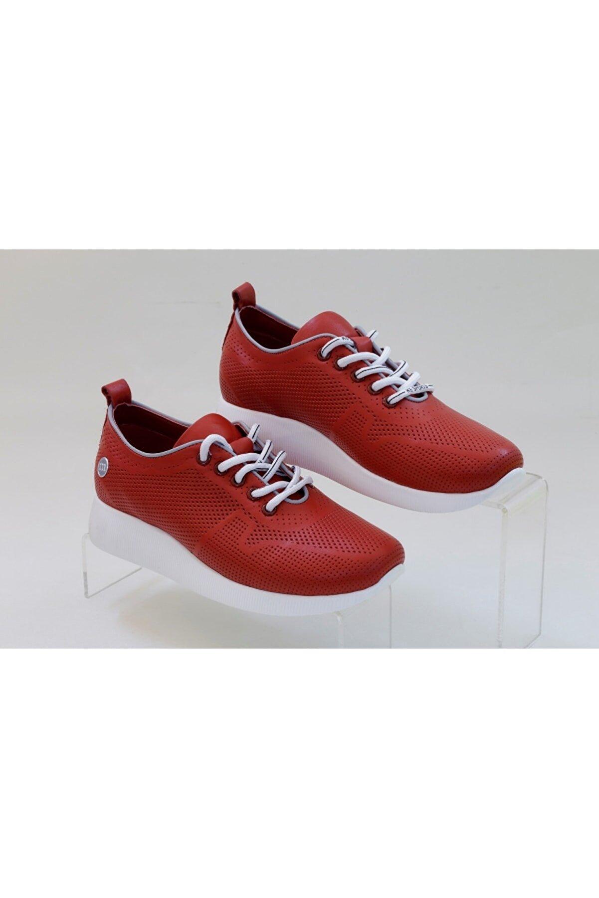Mammamia Yeni Sezon Kırmızı Spor Günlük Yürüyüş Deri Ayakkabı 25