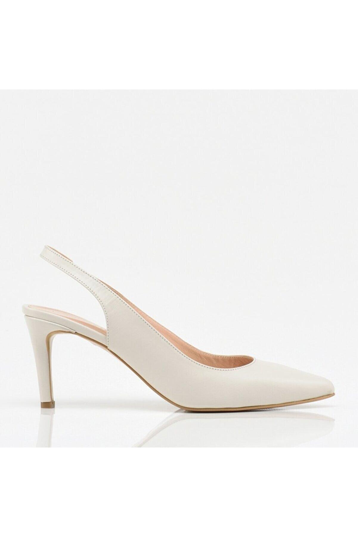 Hotiç Kadın Bej Deri İnce Topuk Ayakkabı