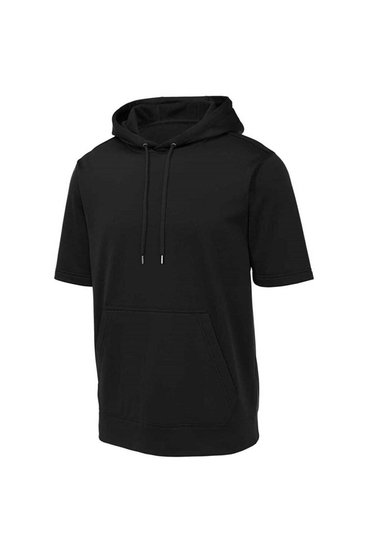 miracolomoda Unisex Siyah Kapüşonlu Kanguru Cepli Kısa Kollu Half Sweatshirt