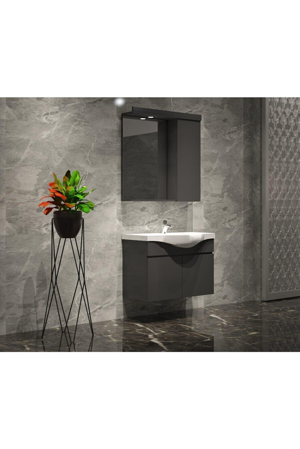 ÖZCEDEN Yıldız Banyo Dolabı Takımı 65 Cm Komple Renkli Antrasit Gri Mat