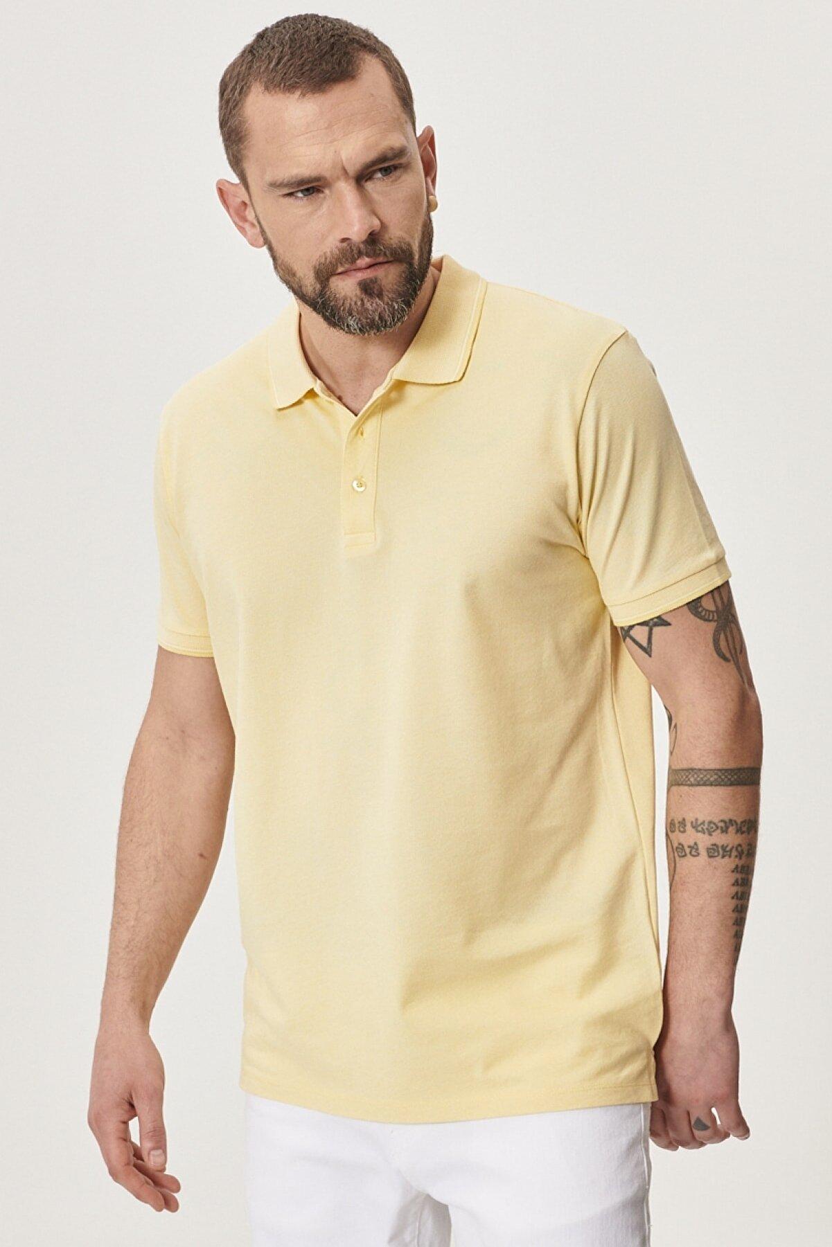 Altınyıldız Classics Erkek Sarı-Beyaz Düğmeli Polo Yaka Cepsiz Slim Fit Dar Kesim Düz Tişört