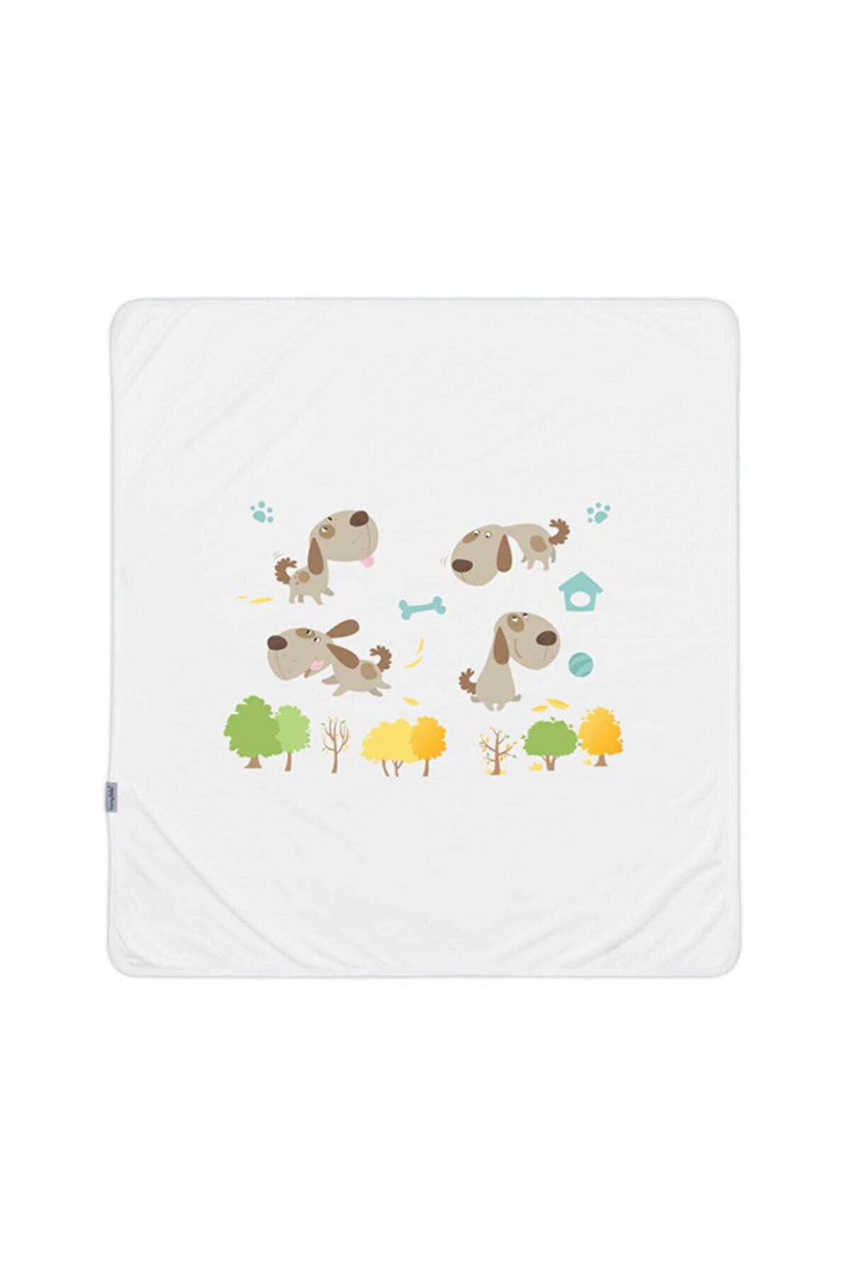 Feray Bebe %100 Pamuk Penye Köpek Baskılı Beyaz Bebek Battaniye