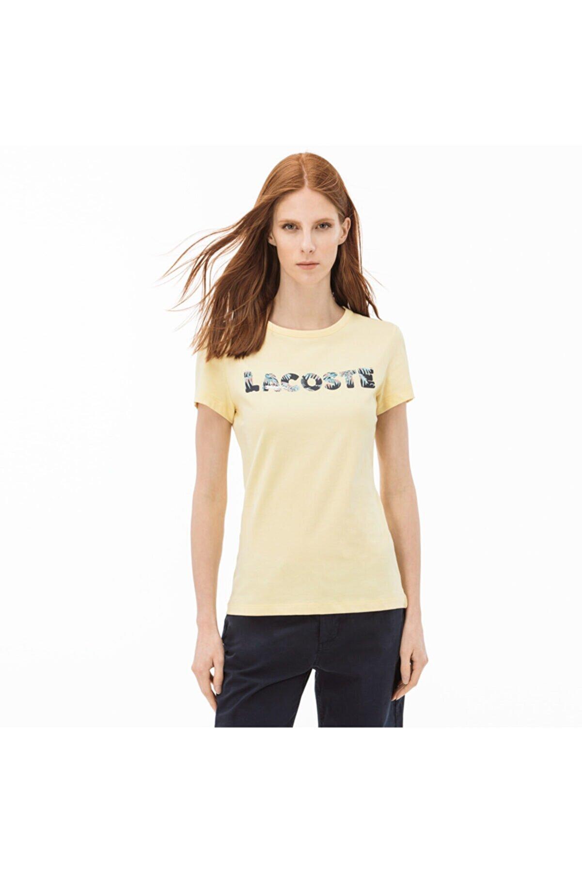 Lacoste Kadın Baskılı Sarı T-Shirt TF3924