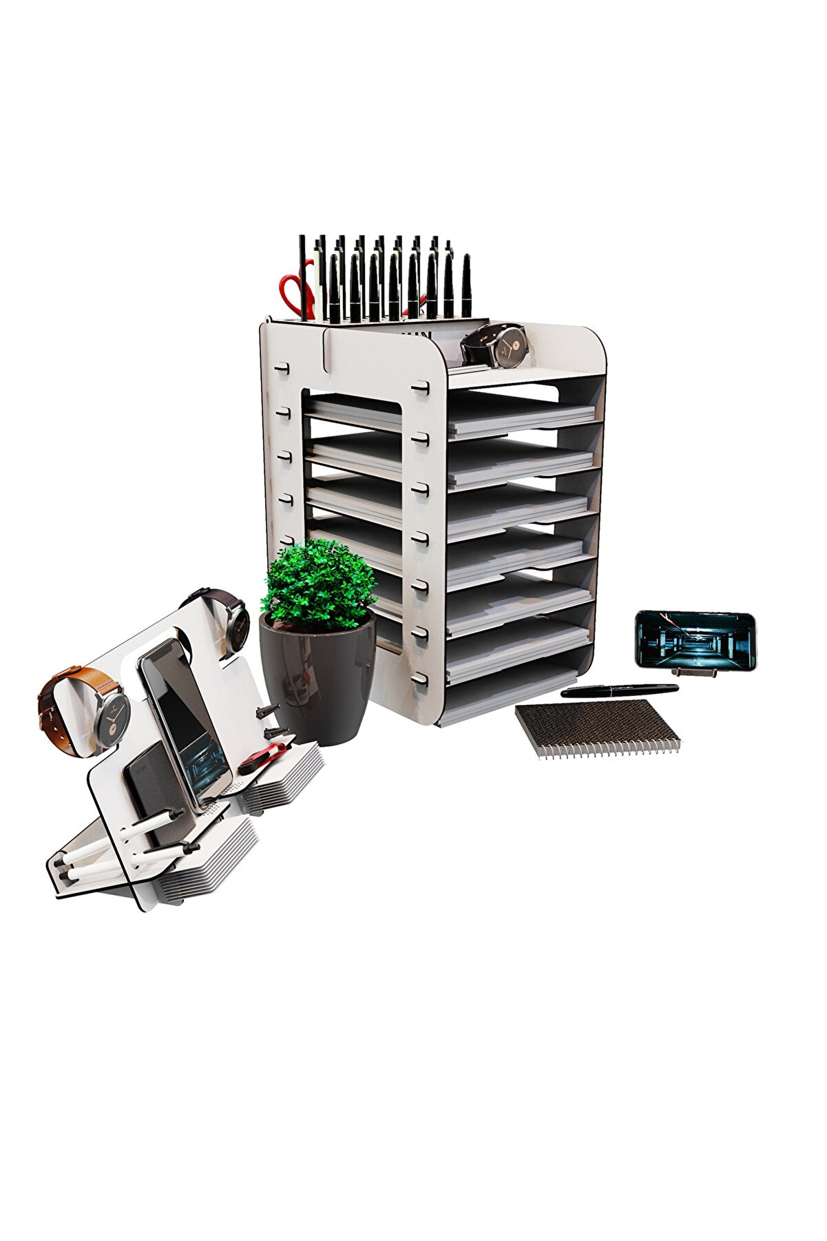 KUK Design Robinia A4 Evrak Rafı Ofis Masaüstü Organizer Düzenleyici 3'lü Set