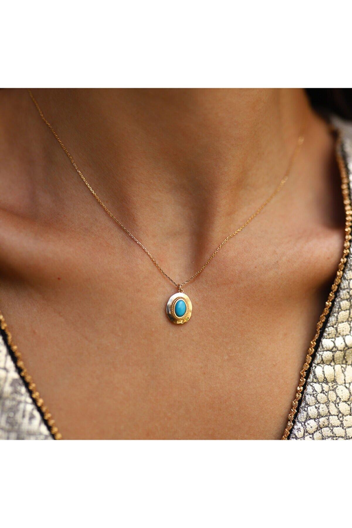 Aypa Mücevher Kadın Firuze Taşlı Altın Kolye