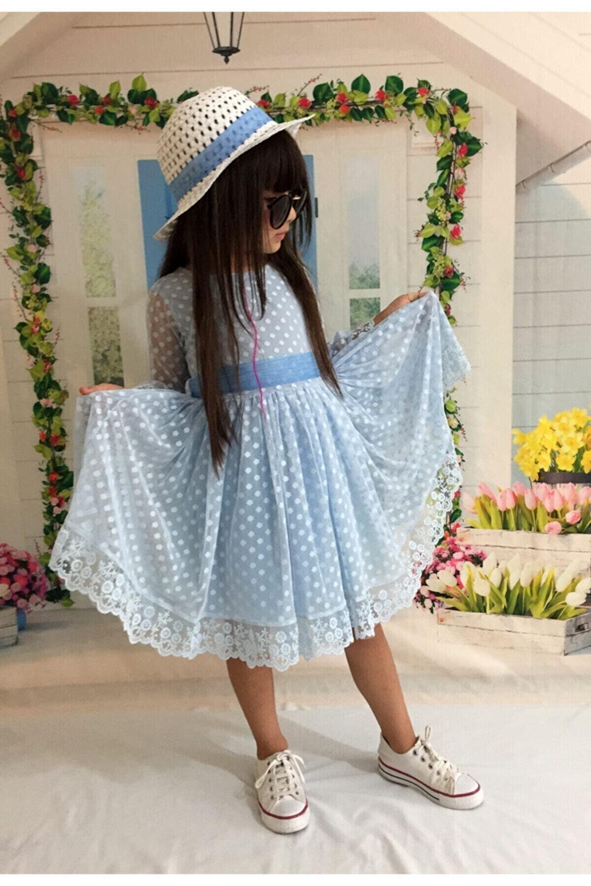 Mixie Kız Çoçuk Mavi Şapkalı Güpürlü Prenses Model Elbisesi