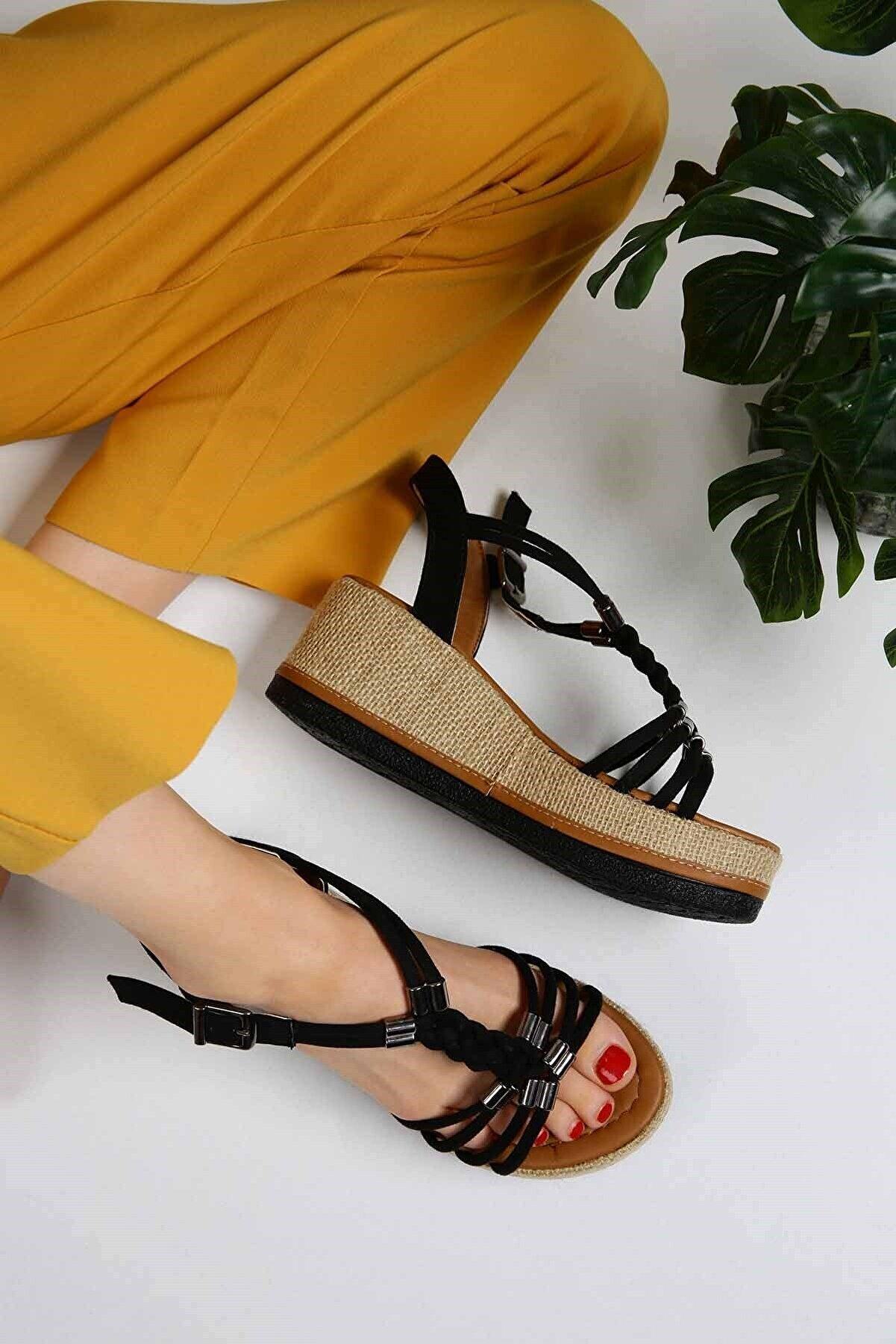 Ccway Kadın  Siyah Süet Yüksek Tabanlı Sandalet- P2019