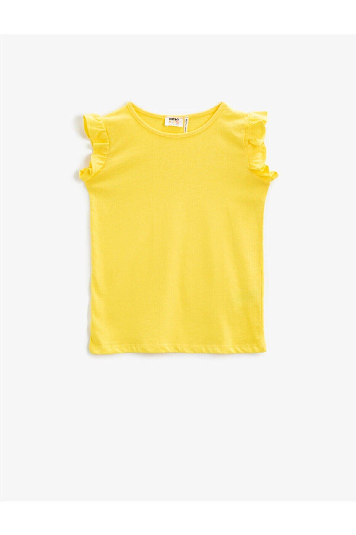 Koton Kız Çocuk Sarı Fırfır Kollu T-shirt