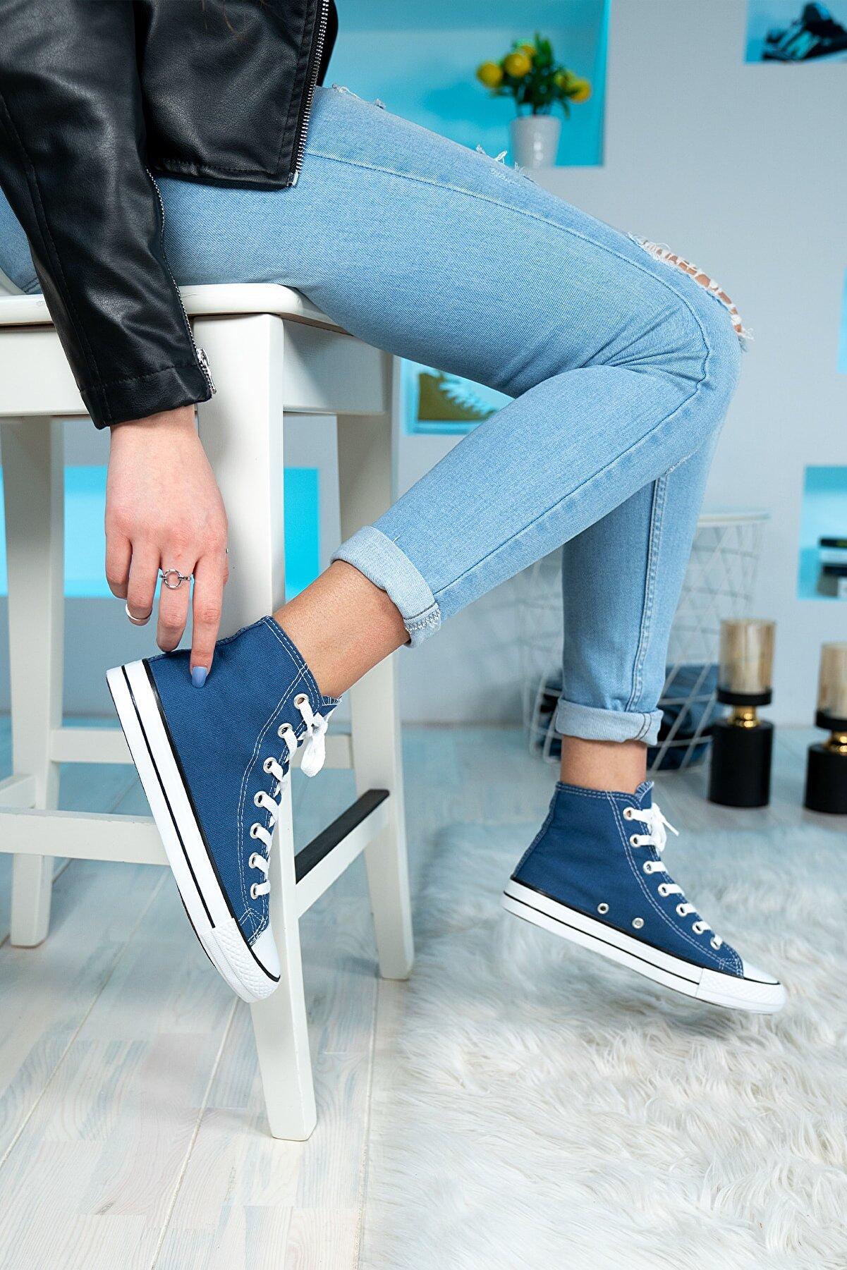 Bartrobe Günlük Keten Mavi Spor Ayakkabı Bilekli Erkek Kadın 6 Renk