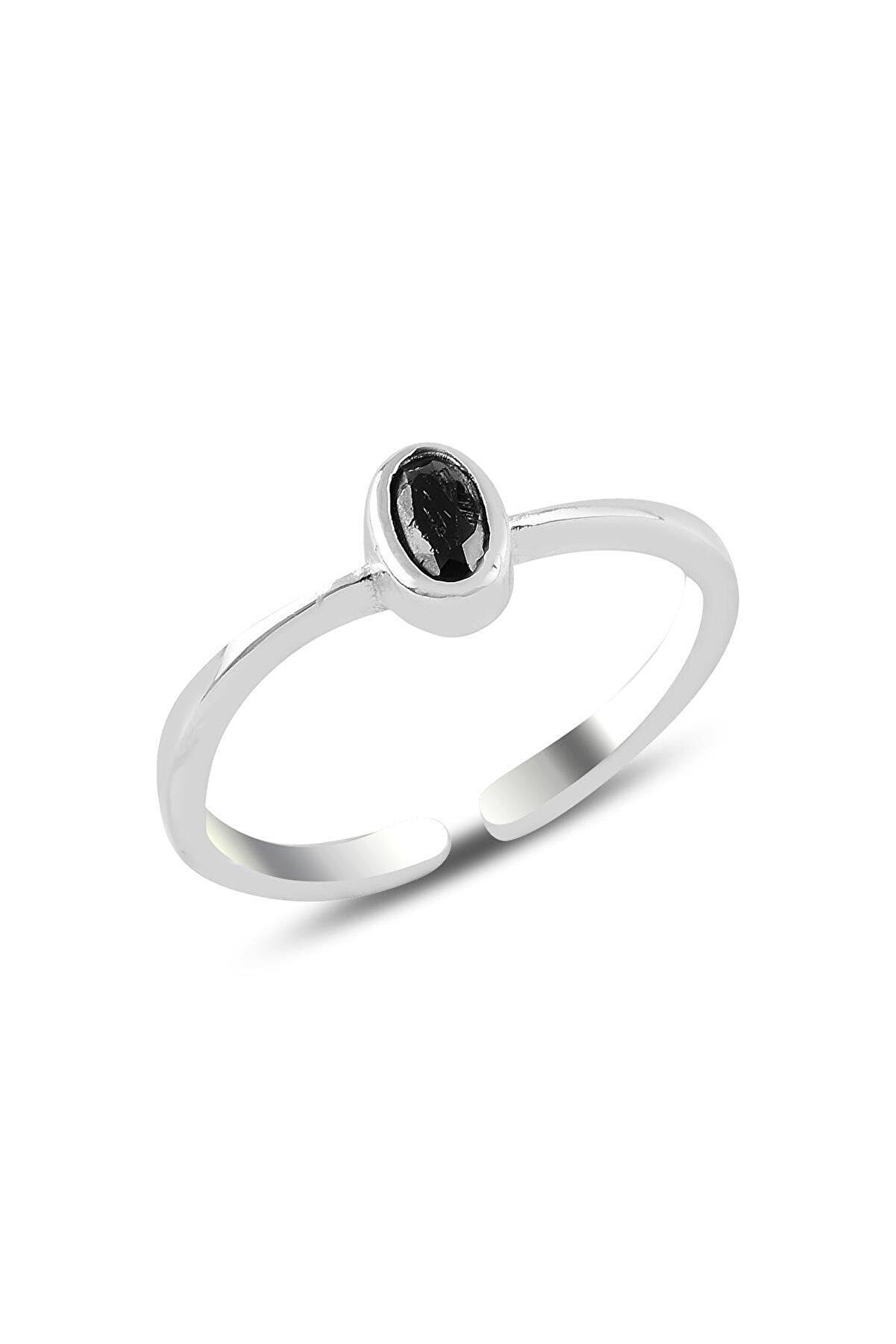 Söğütlü Silver Gümüş Rodyumlu Siyah Taşlı Ayarlamalı Yüzük