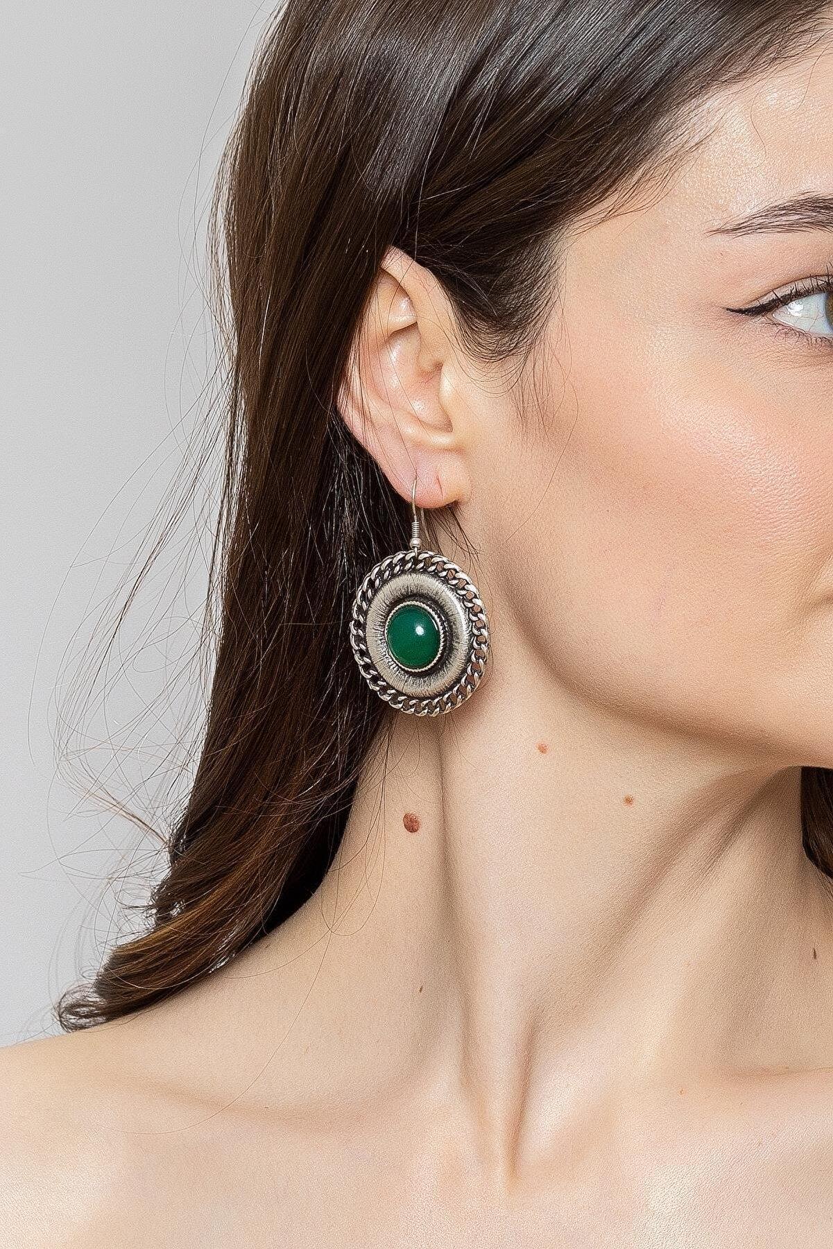 ZeyDor Accessories Kadın Yeşil Zeydor Taşlı Bohem Küpe
