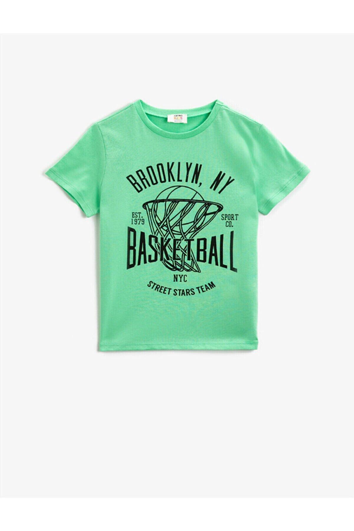 Koton Erkek Çocuk Yeşil Yazılı Bisiklet Yaka Kısa Kollu Pamuklu T-shirt