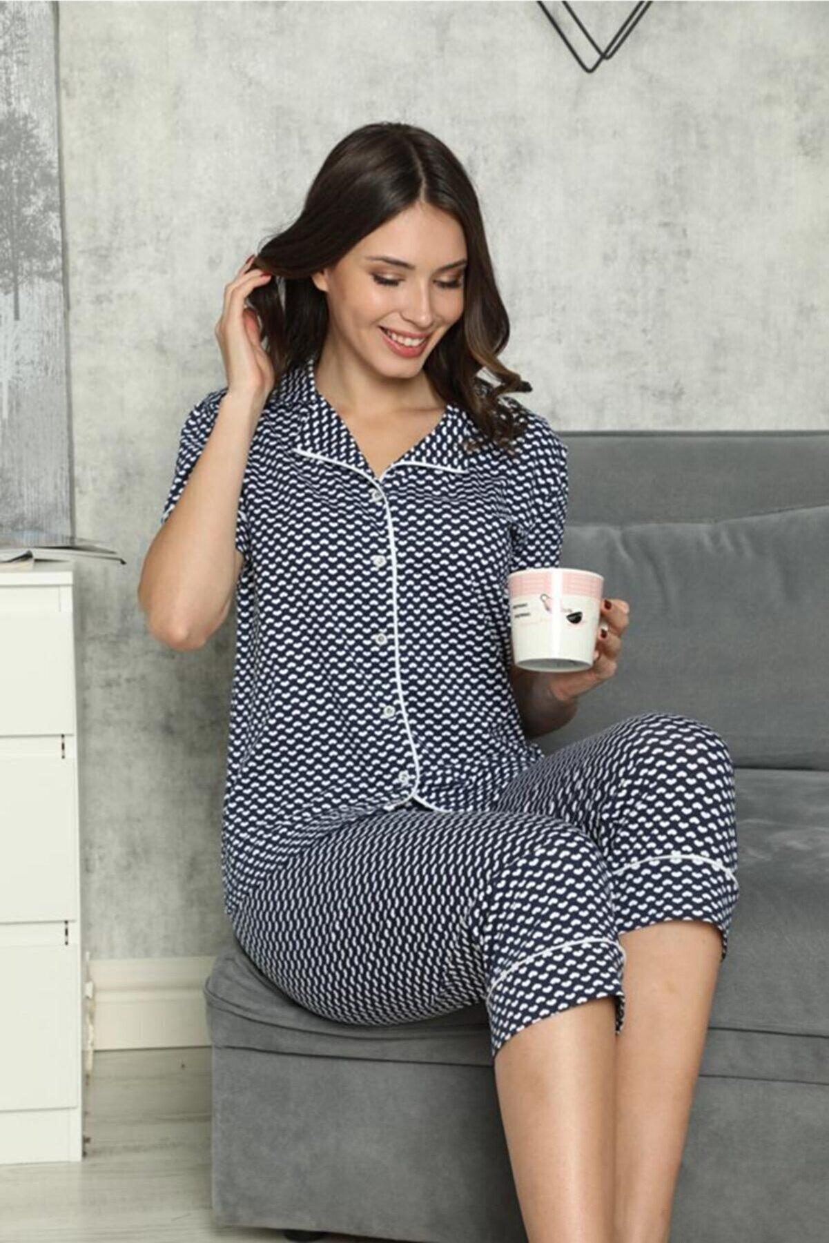 SEYKO Kadın Lacivert Penye Bermuda  Pijama Takımı