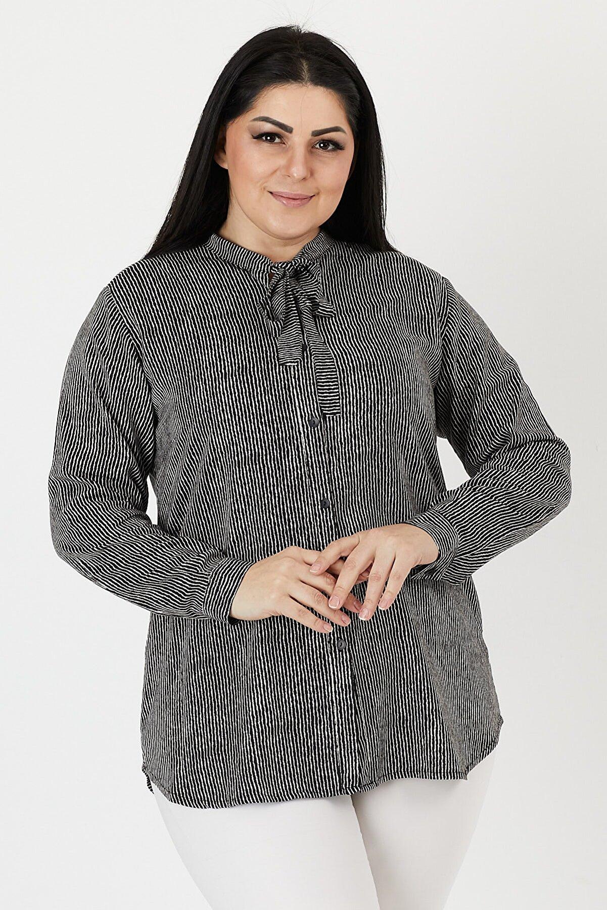 VAV Kadın Büyük Beden Gömlek Çizgili Dalga Desenli Kravatlı