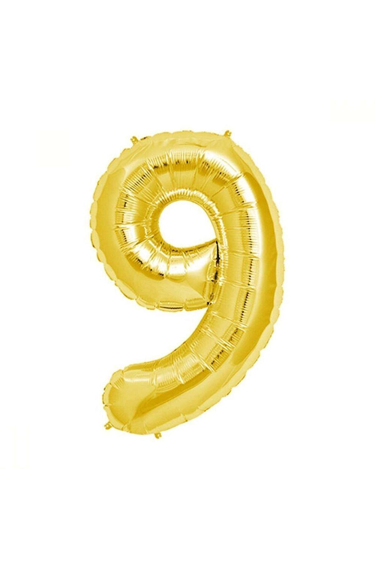 Aker Hediyelik 9 Rakamlı Metalik Sarı Folyo Balon 40 Inc 100cm 9 Sayılı Helyum Balonu Gold Balon