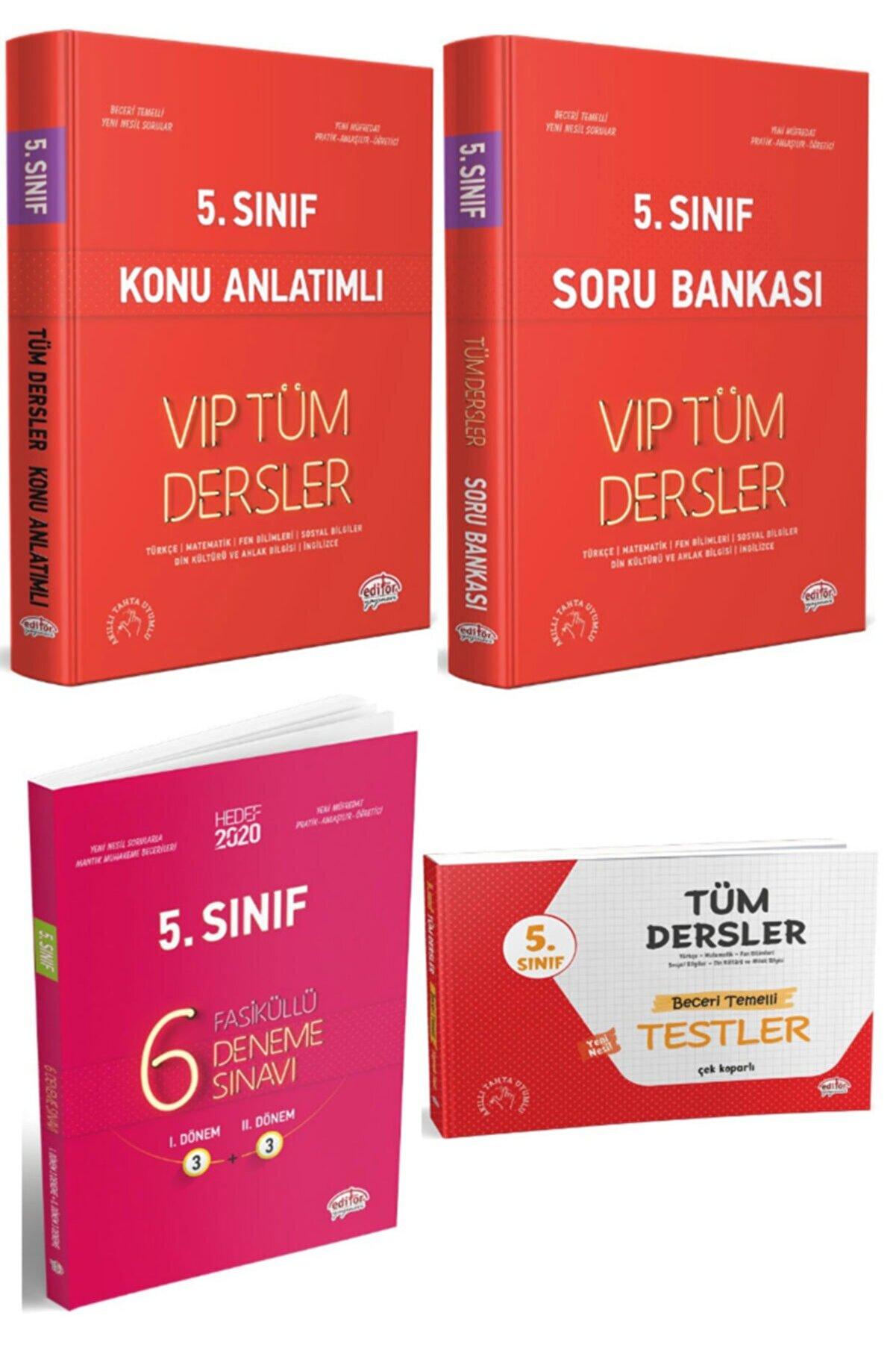 Editör Yayınları 5. Sınıf Tüm Dersler Vip Konu Anlatımlı + Soru Bankası + Yaprak Test + 6 Fasiküllü Deneme 4 Lü Set