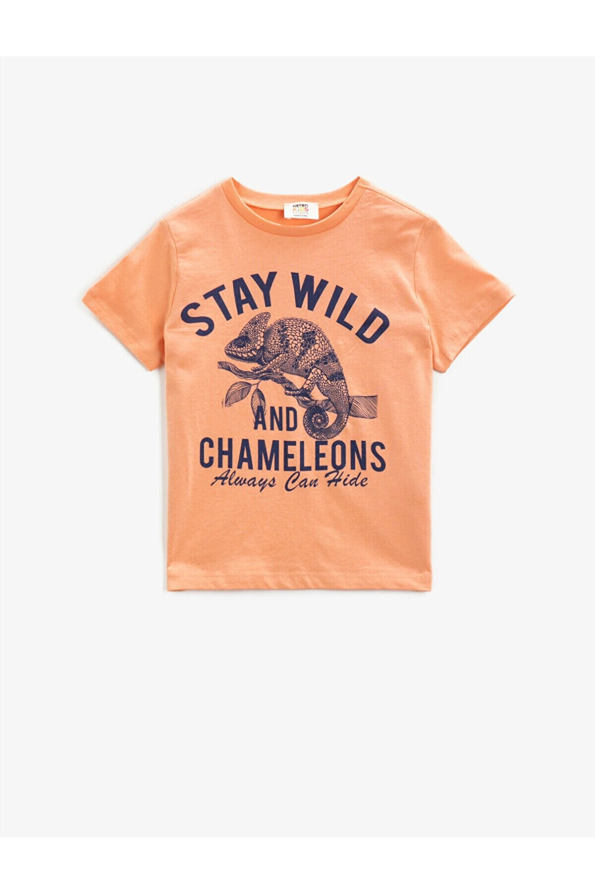 Koton Erkek Çocuk Pembe Yazılı Kısa Kollu Pamuklu Bisiklet Yaka T-Shirt