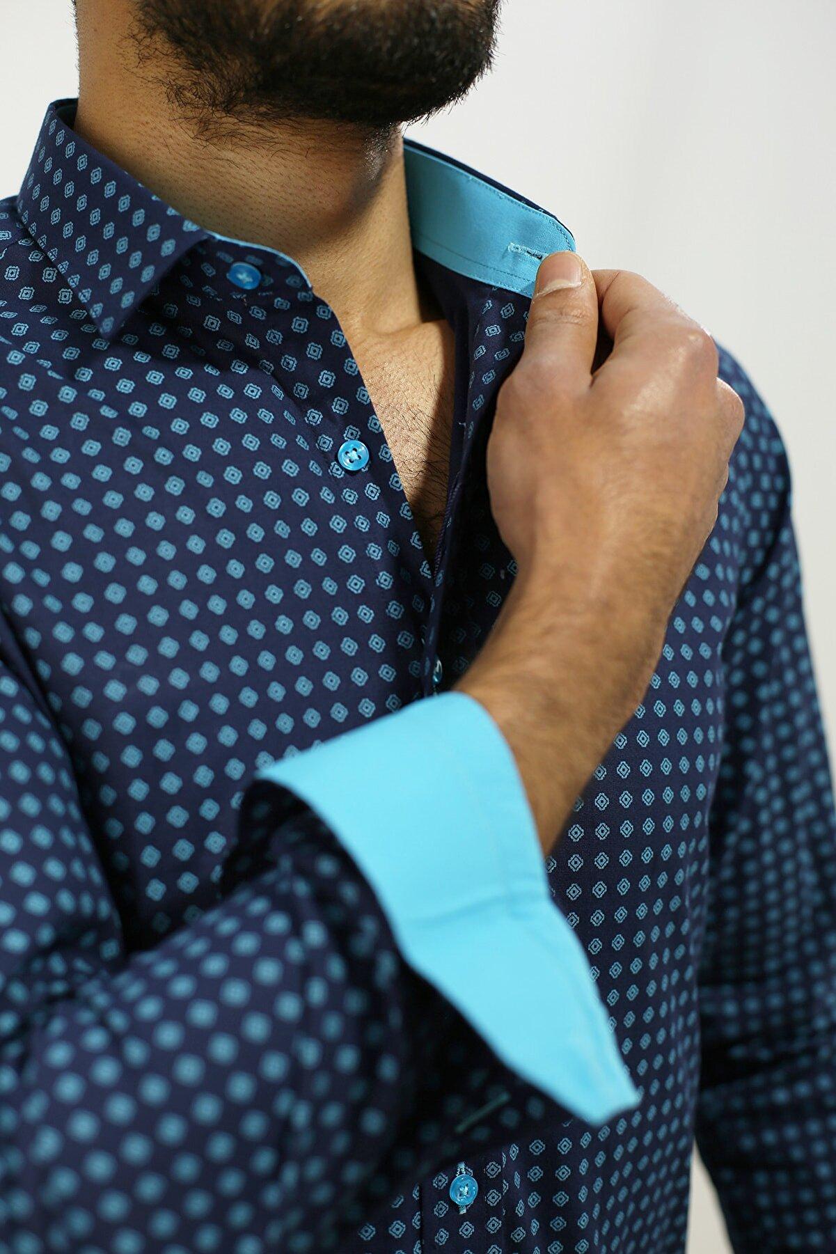 PASSERO Dar Kesim Licra Baskılı Pamuklu Erkek Gömlek