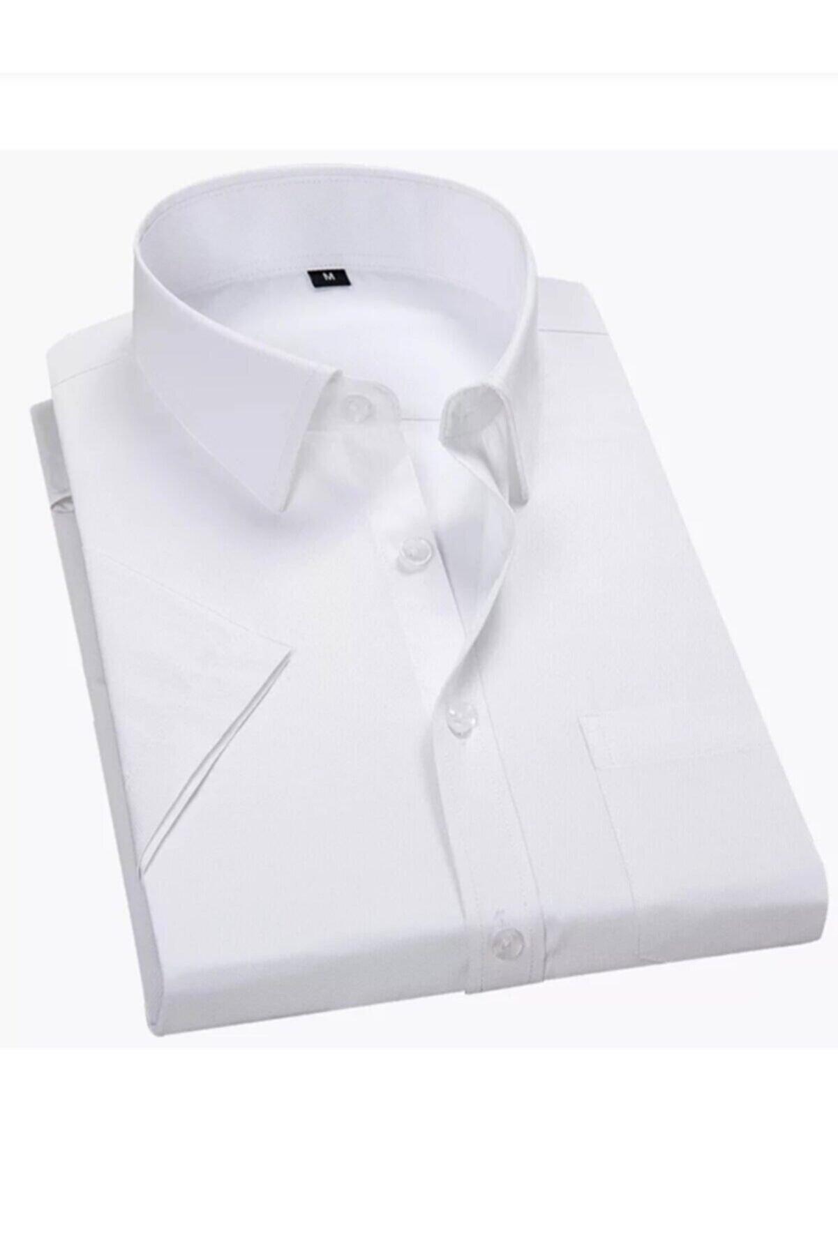 MaviMoure Erkek Beyaz Klasik Kesim Kısa Kol Gömlek