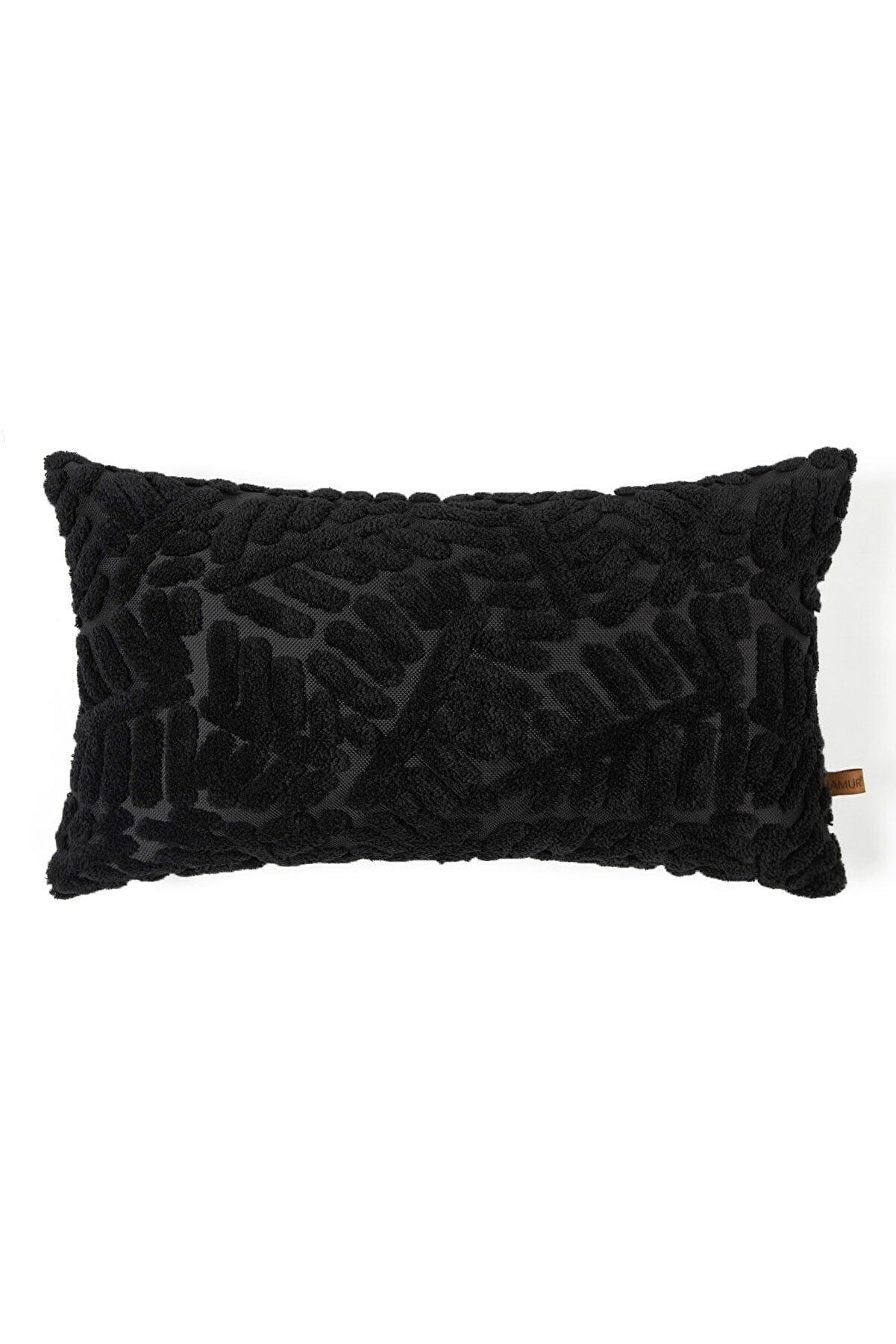 Hamur Bohem Özel Tasarım Punch Panç Desen Dikdörtgen Dekoratif Kırlent Kılıfı Forest Siyah