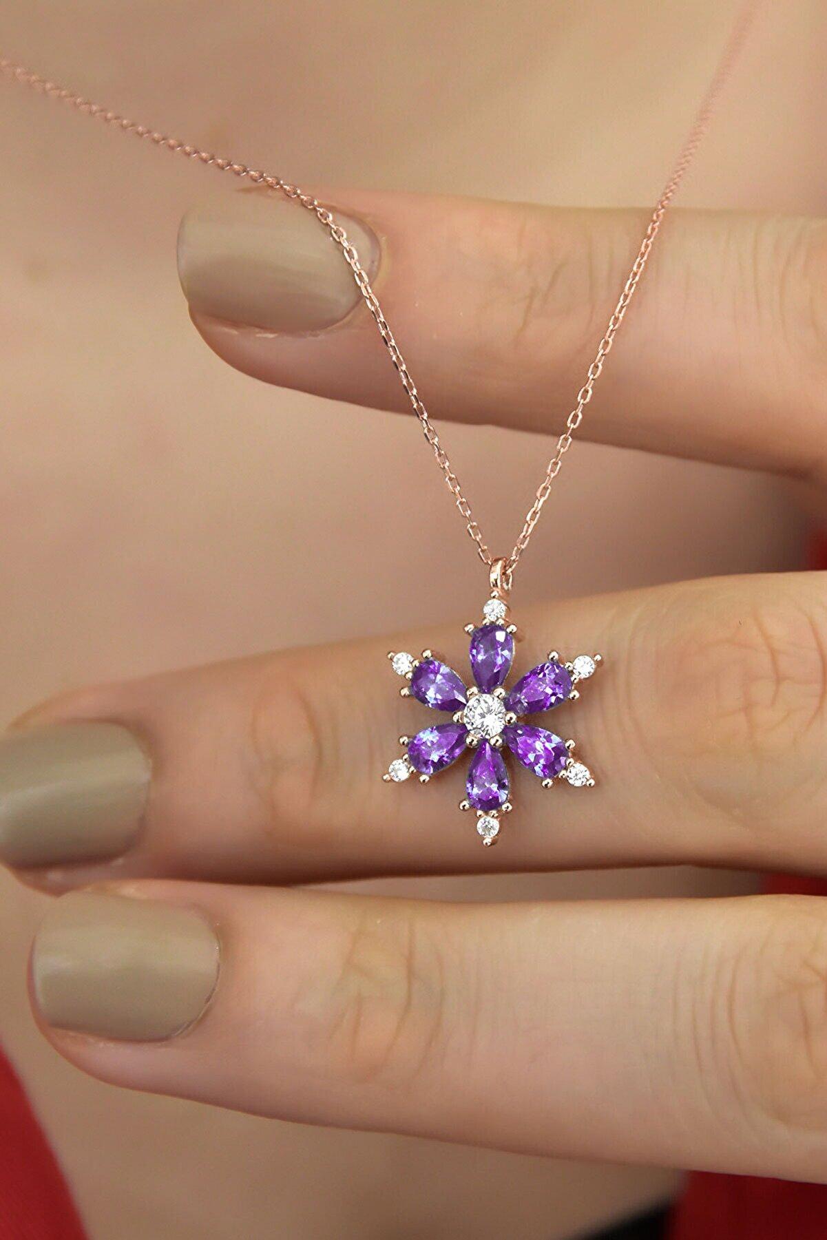 Papatya Silver 925 Ayar Gümüş Mor Taşlı Kamelya Çiçeği Kadın Kolye