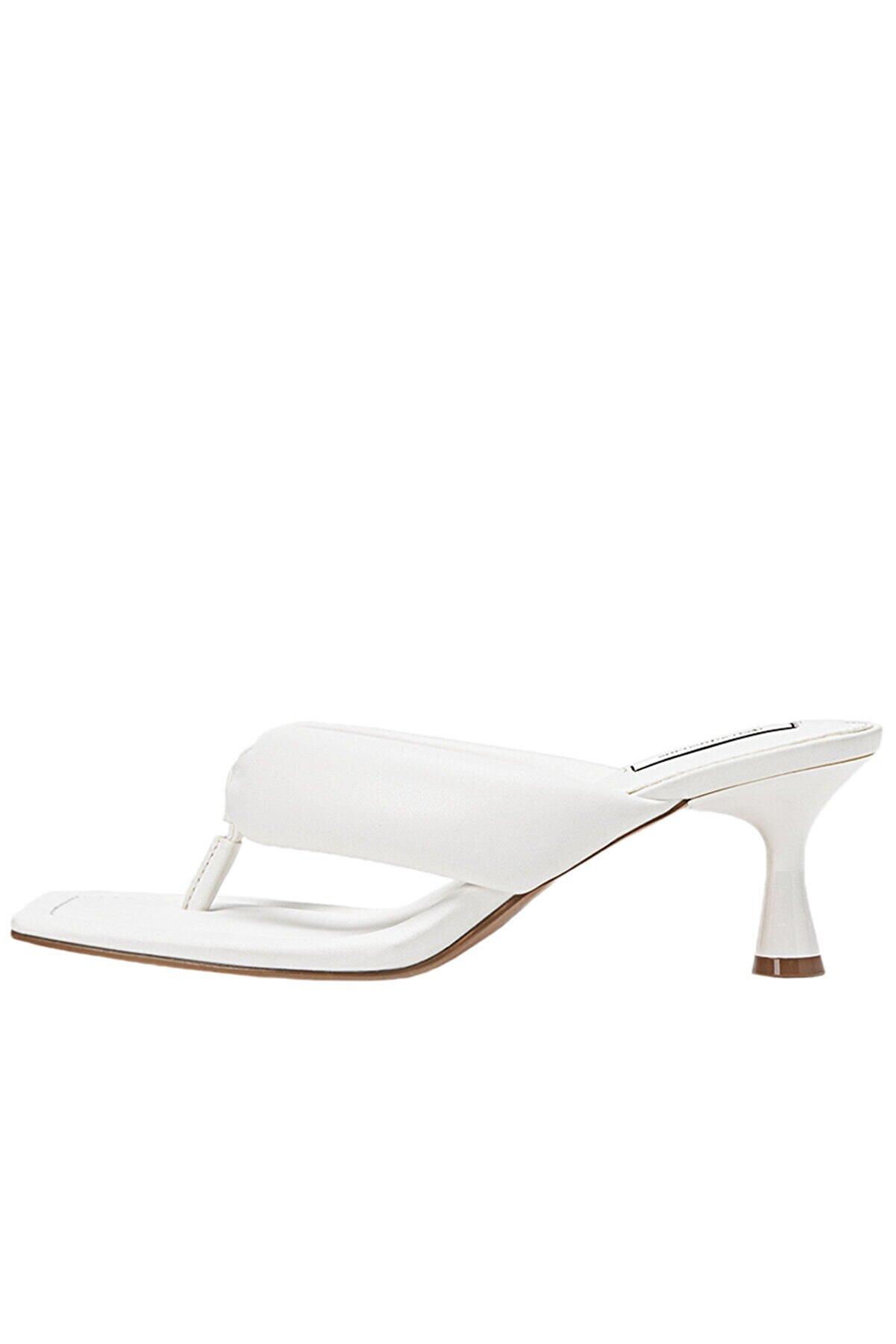 Stradivarius Kadın Beyaz Burun Detaylı  Topuklu Terlik